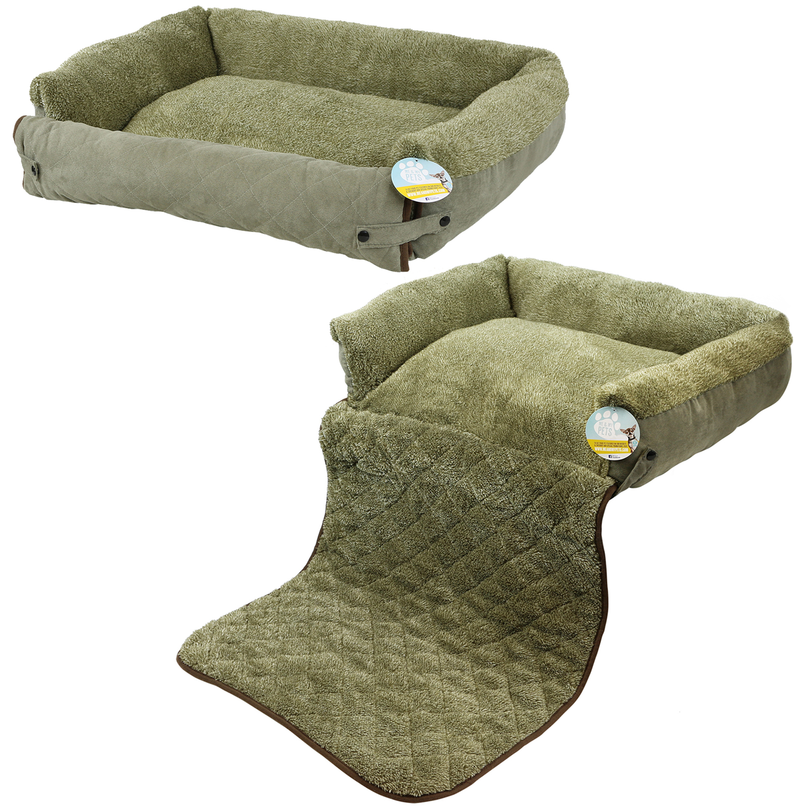 ME & MY PET QUILTED GREEN FLEECE FOLD OUT CAT DOG BED SOFA COUCH