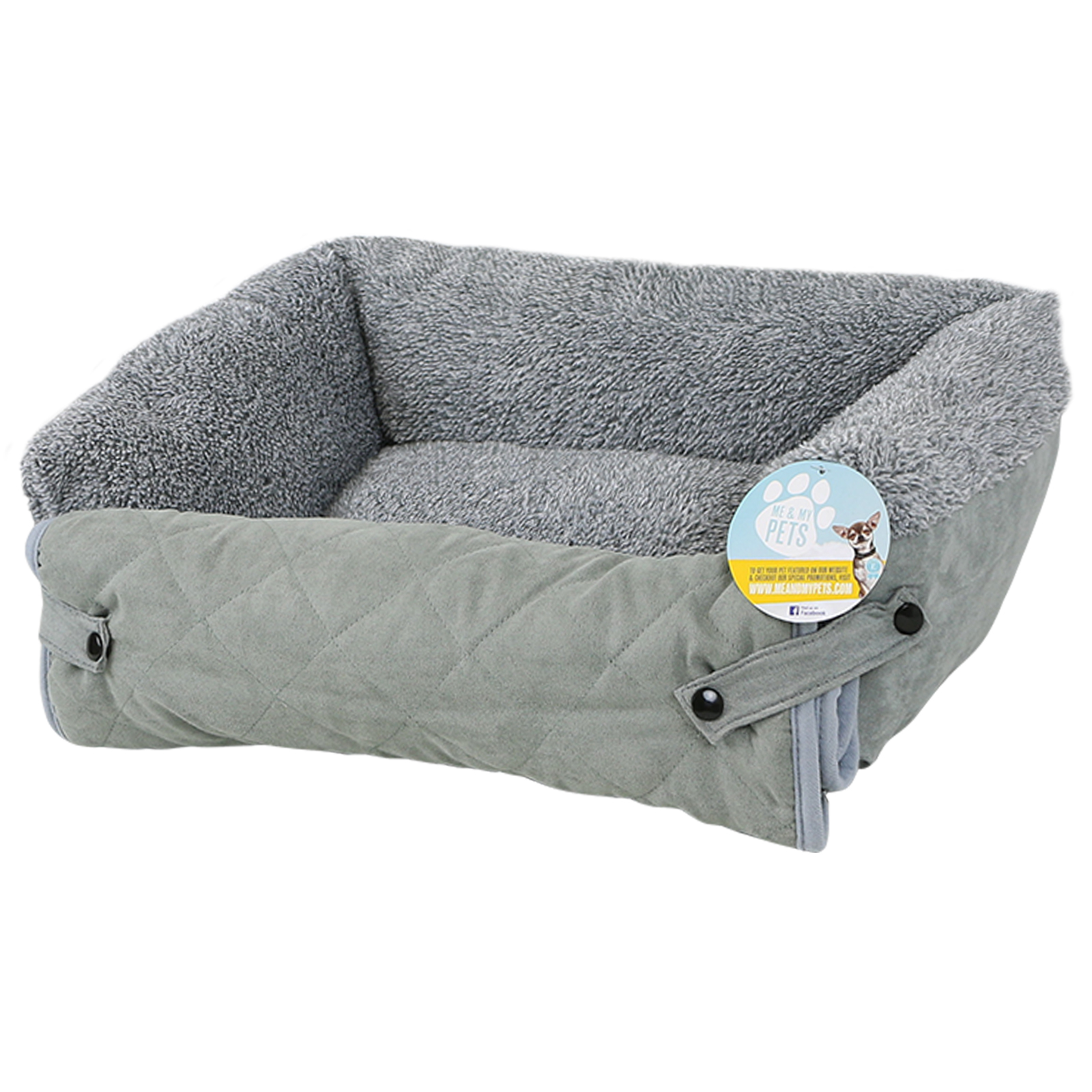 ME & MY PET QUILTED GREY FLEECE FOLD OUT CAT DOG BED SOFA COUCH