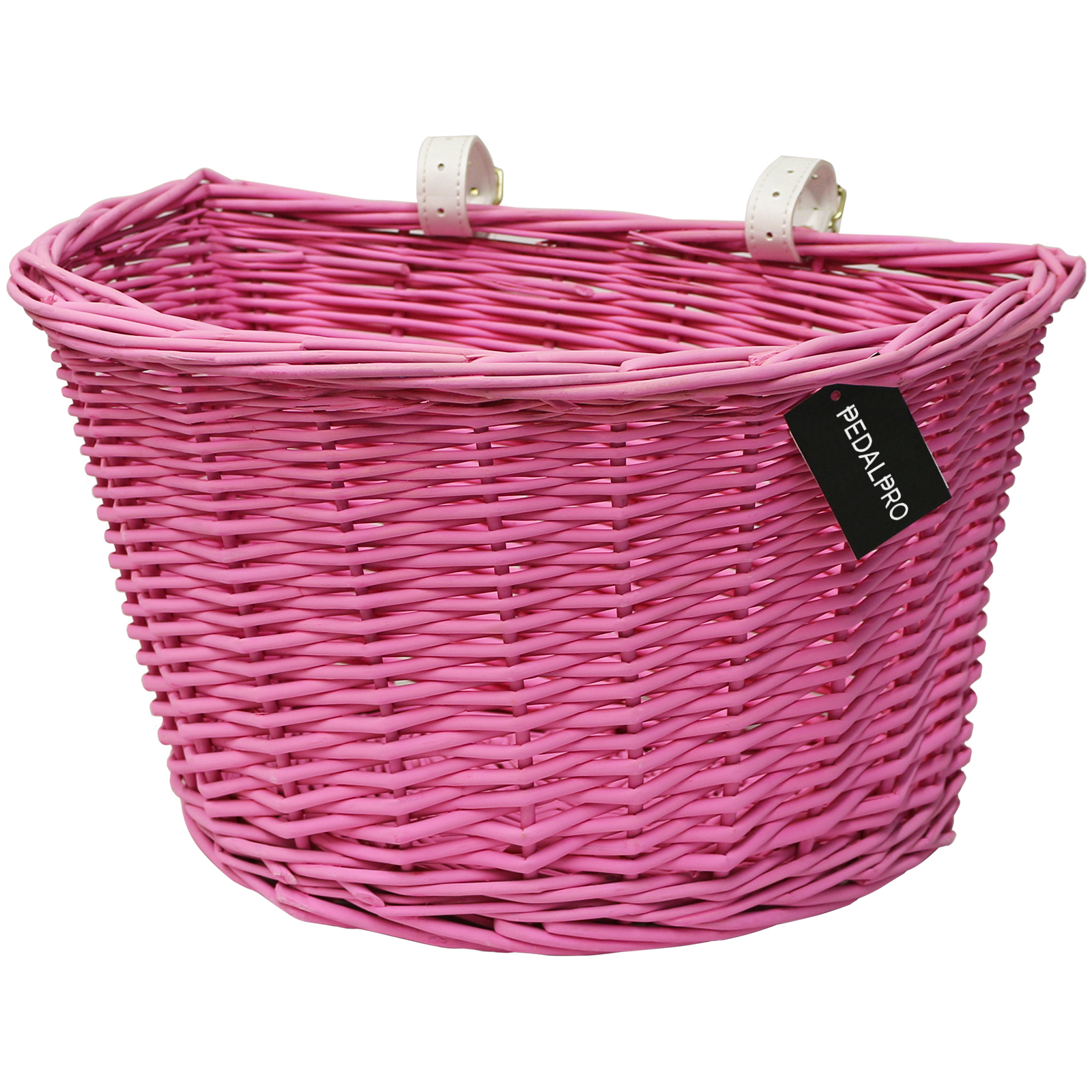 Pedalpro Pink Wicker Bicycle Basket With Leather Straps Bike Cycle