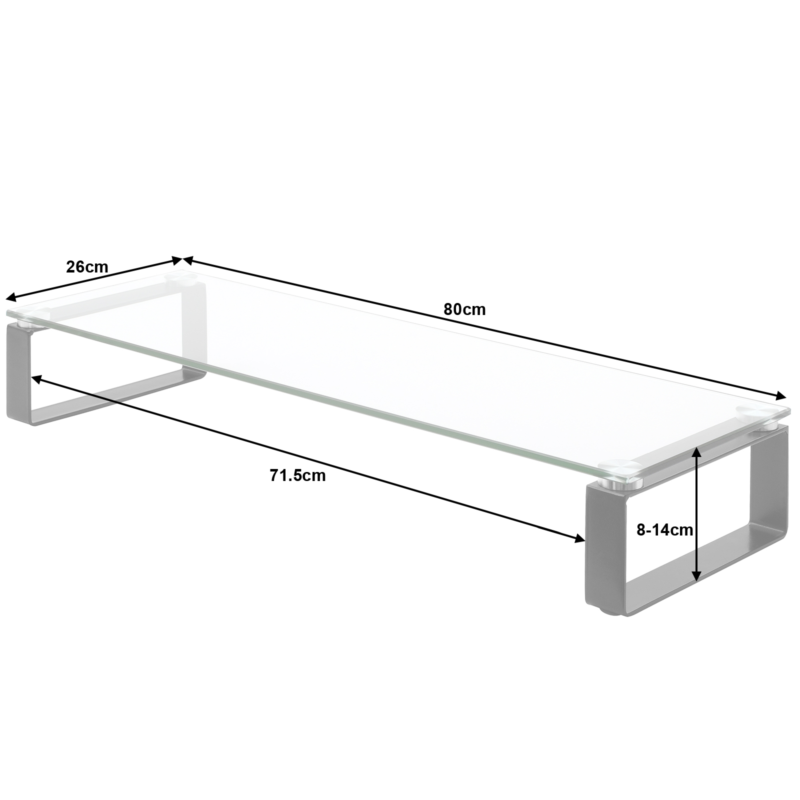 Large Double Monitor Screen Riser Block Shelf Computer Imac Tv  # Dimension Table Tv