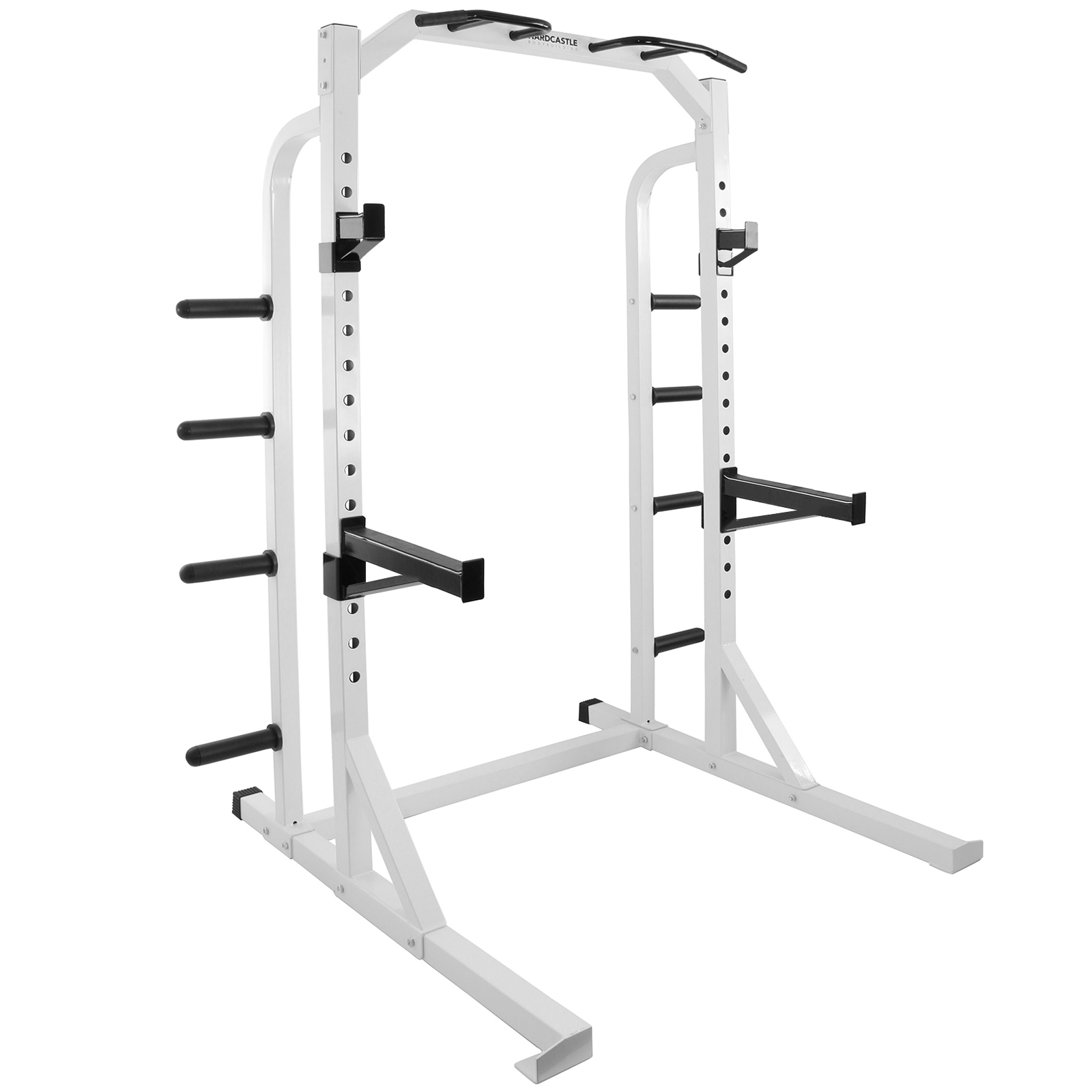 Hd White Olympic Power Cage Squat Weight Rack Home Multi Gym Pull