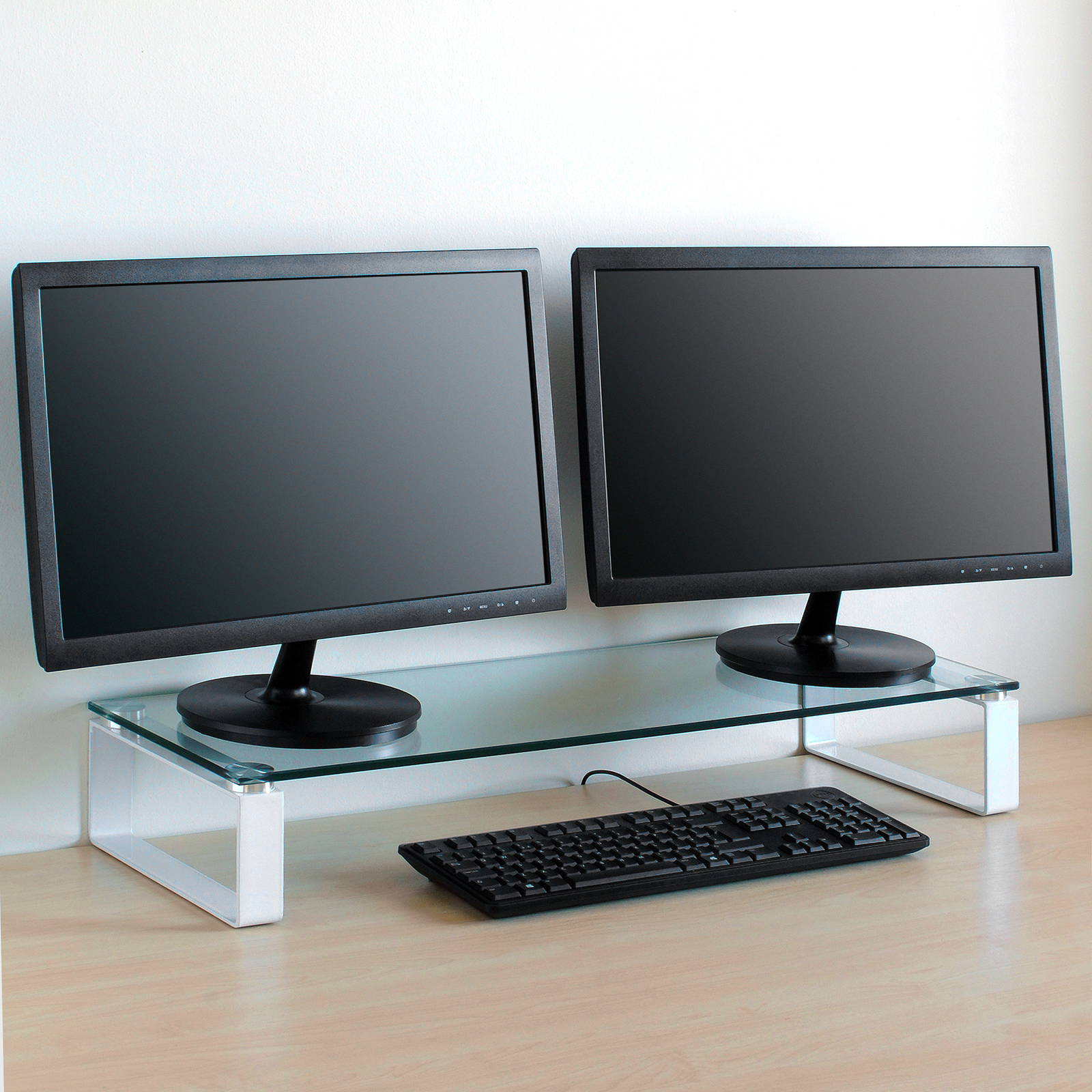 Large Double Monitor Riser Stand Pc Imac Screen Tv Display Shelf