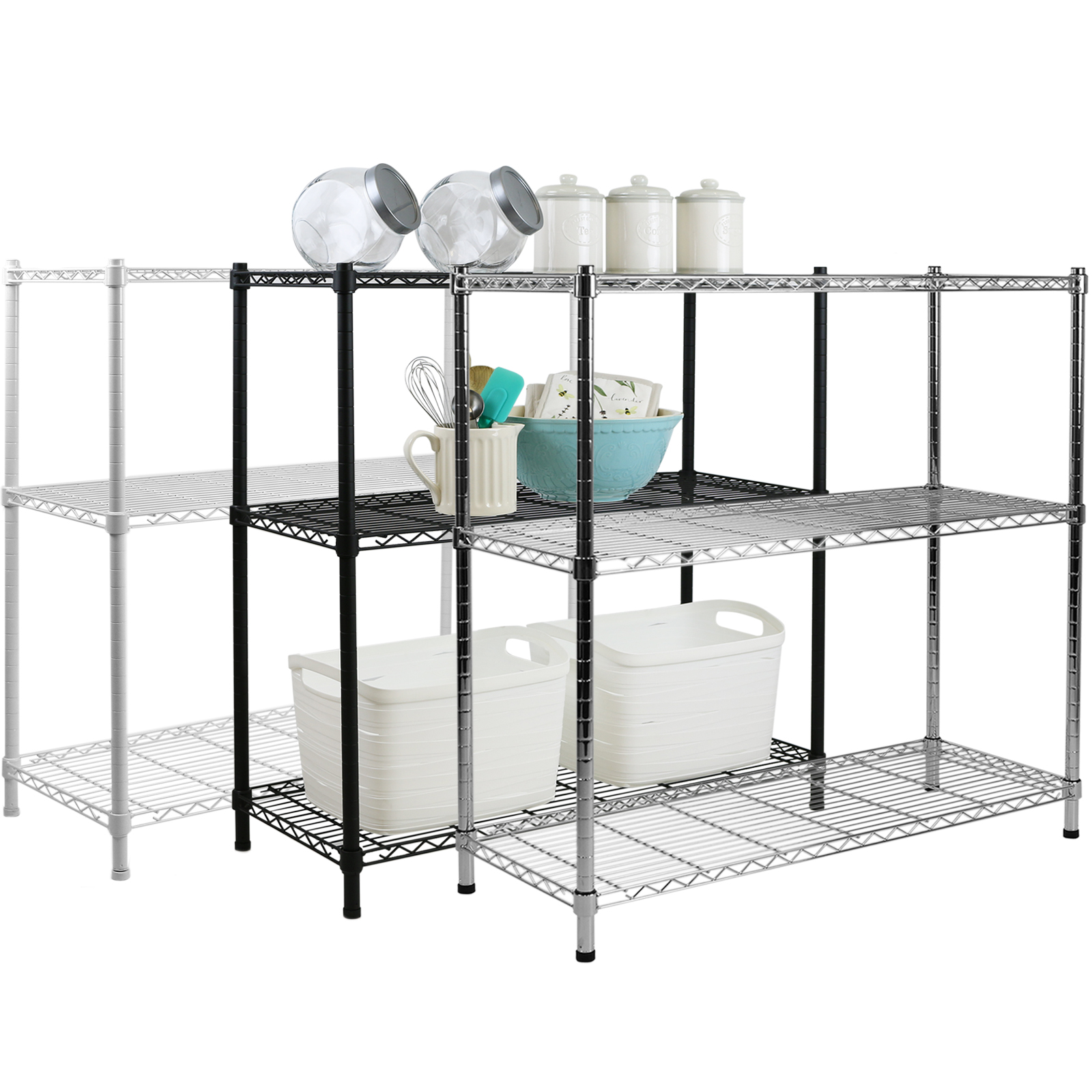 steel storage rack 3 tier metal storage rack shelving book shelf kitchen 26780
