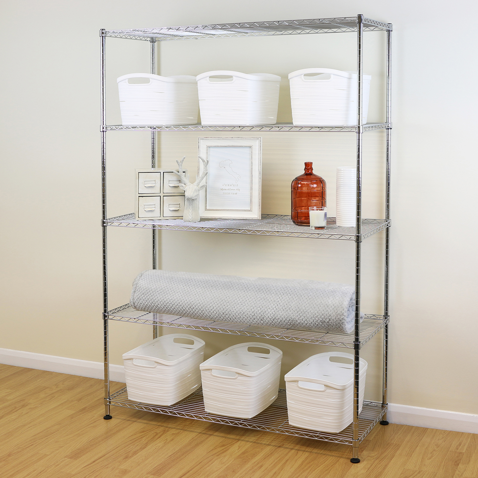 5 Tier Chrome Metal Storage Rack/Shelving Wire Shelf Kitchen/Office ...