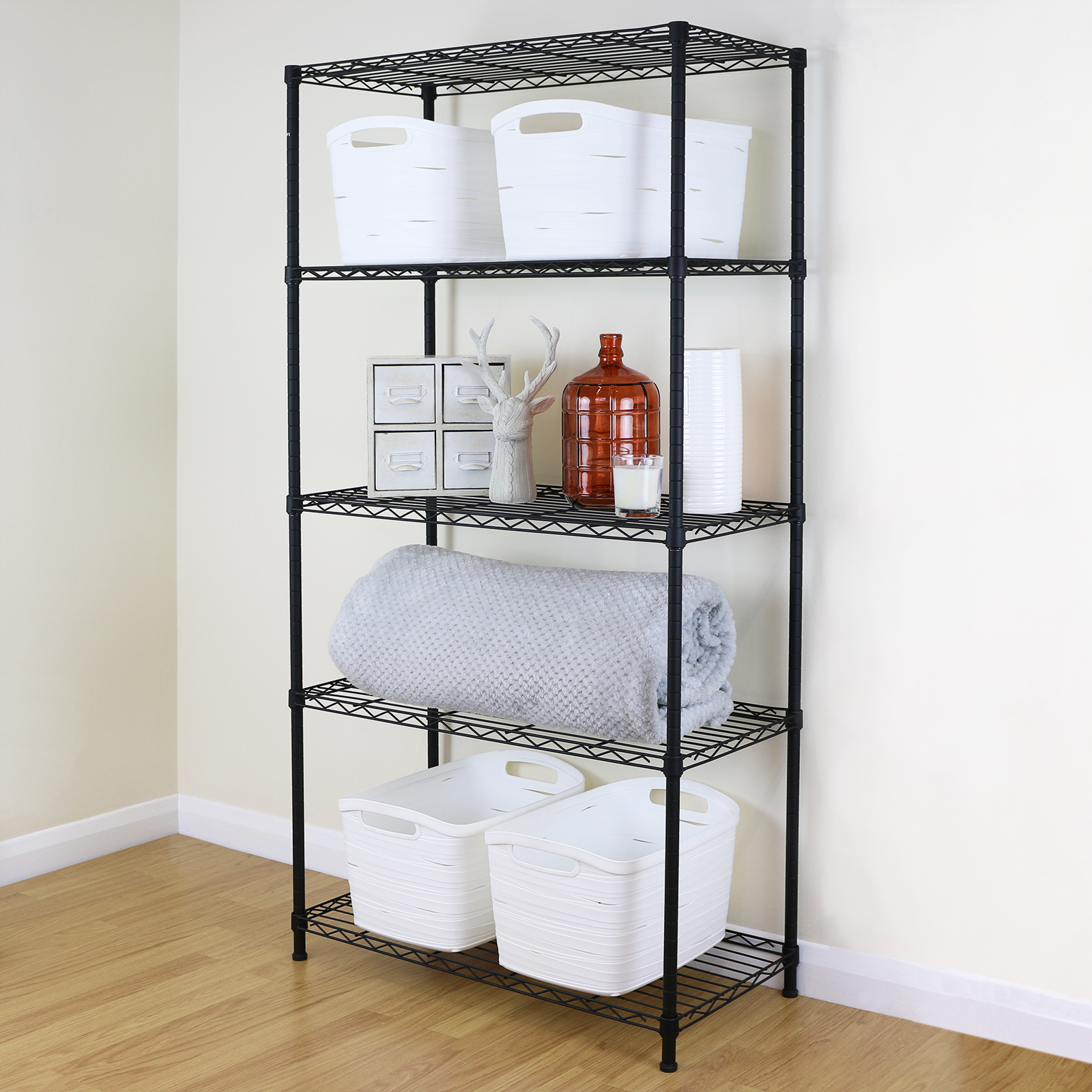 5 Tier Black Metal Storage Rack/Shelving Wire Shelf Kitchen/Office ...