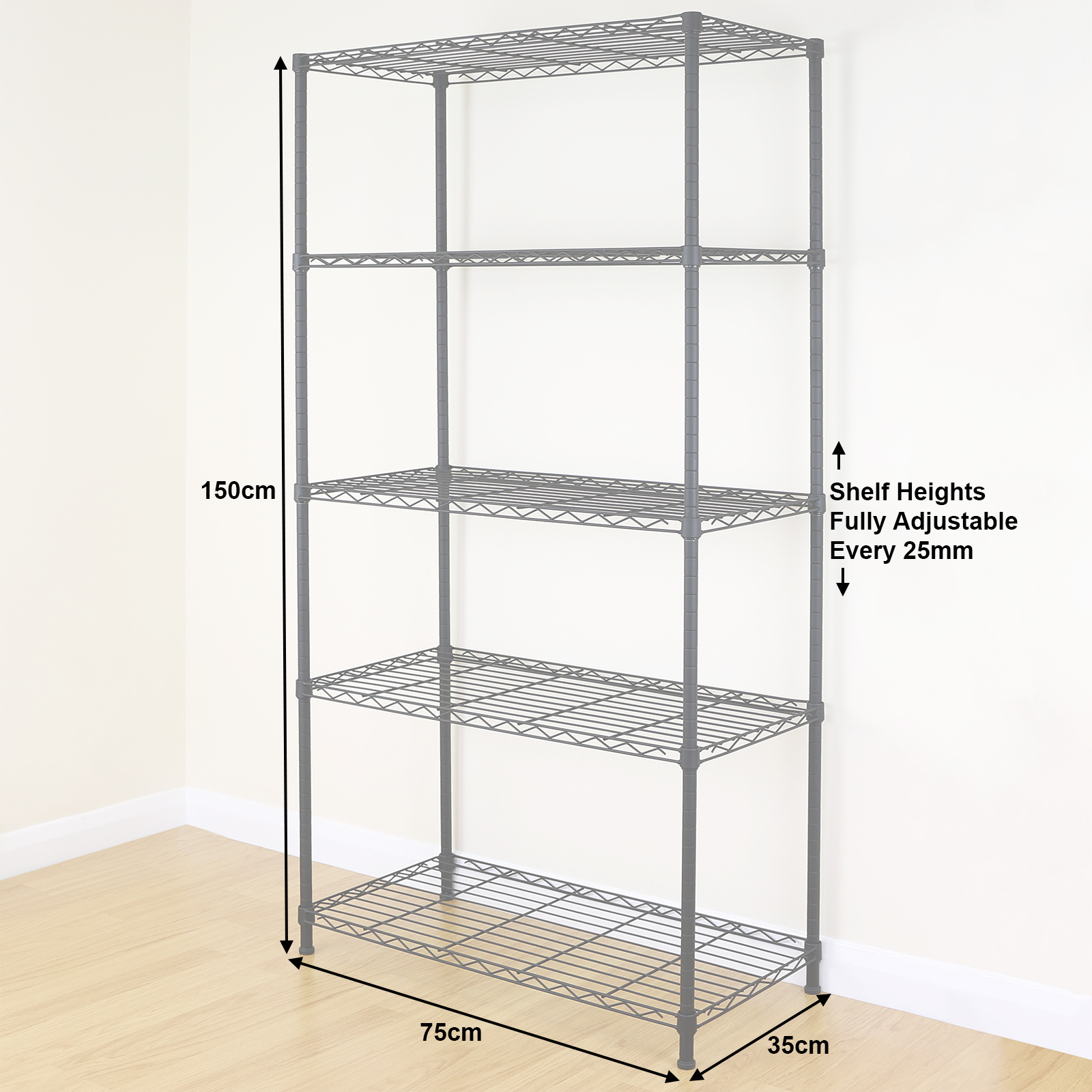 Kitchen Shelves Dimensions: 5 Tier Black Metal Storage Rack/Shelving Wire Shelf