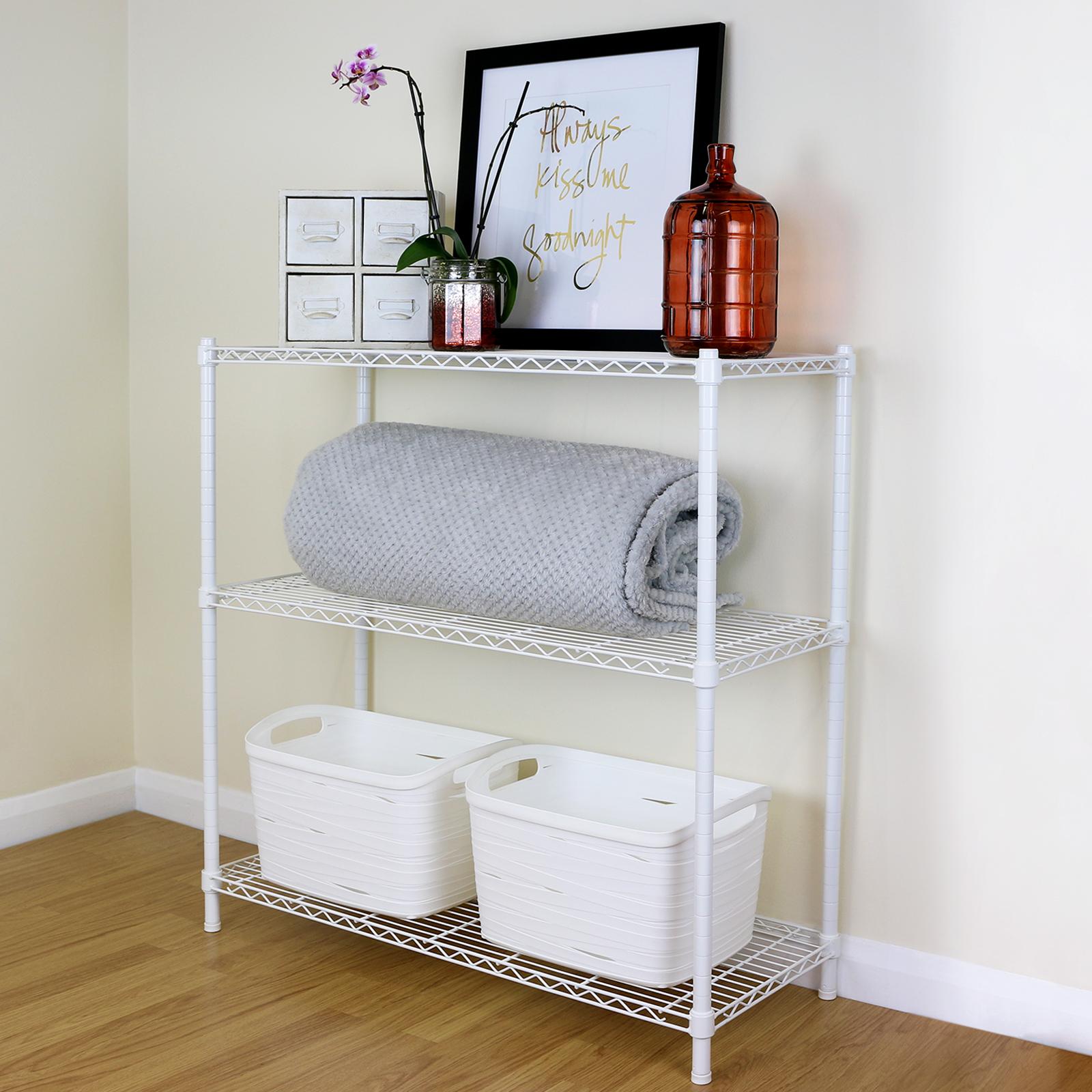 3 Tier White Metal Storage Rack/Shelving Wire Shelf Kitchen/Office ...