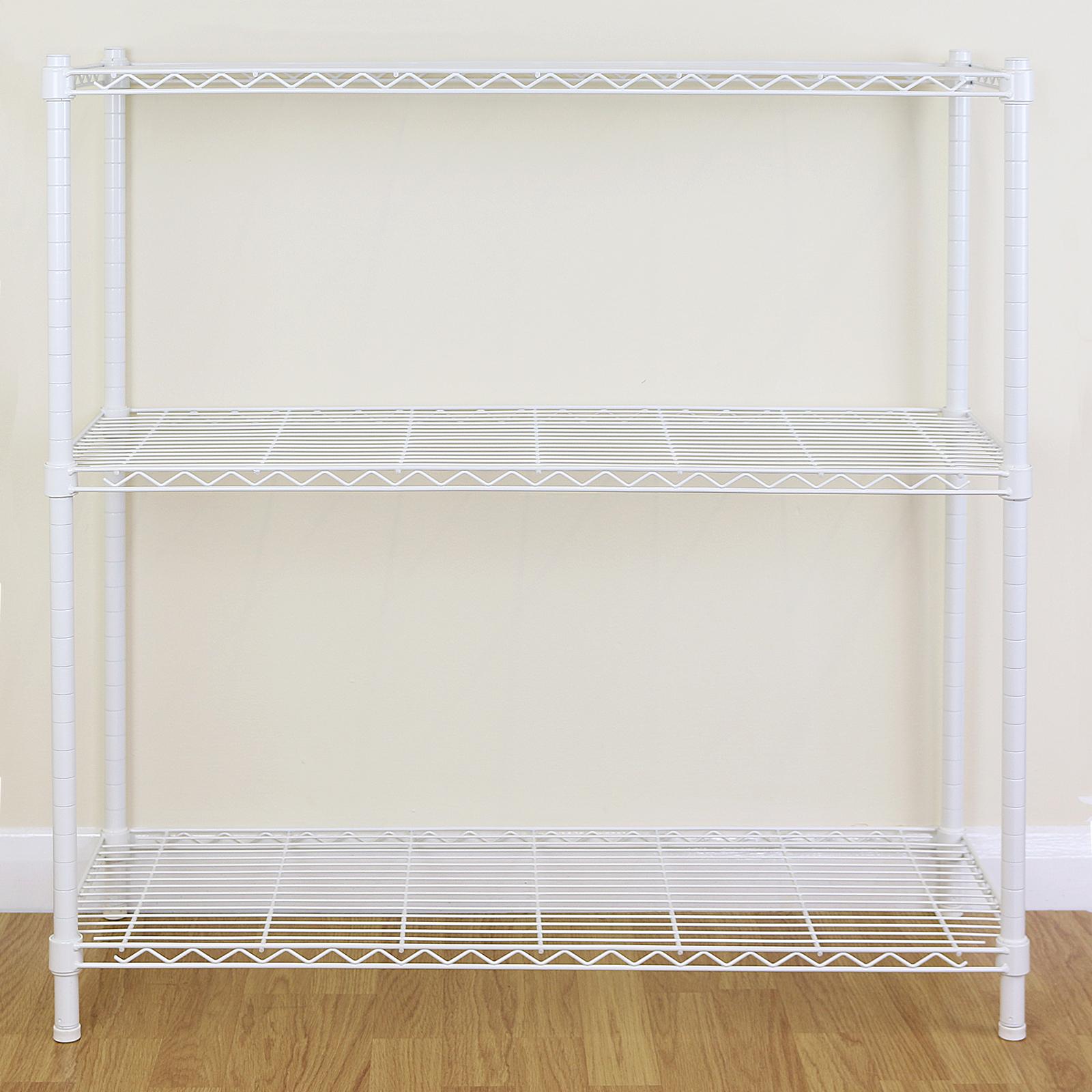 Sentinel 3 tier white metal storage rack shelving wire shelf kitchen office unit 90cm