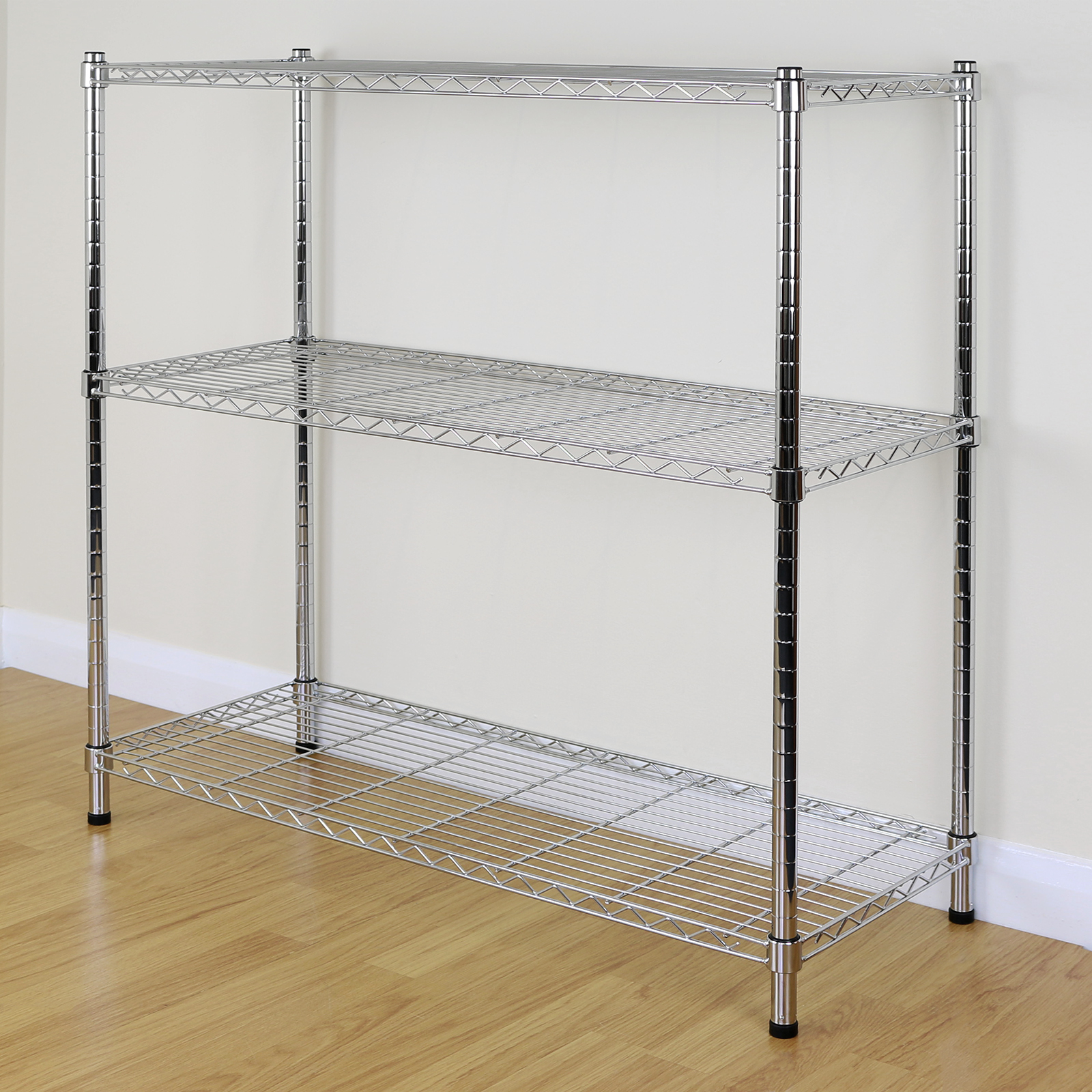 3 Tier Chrome Metal Storage Rack Shelving Wire Shelf