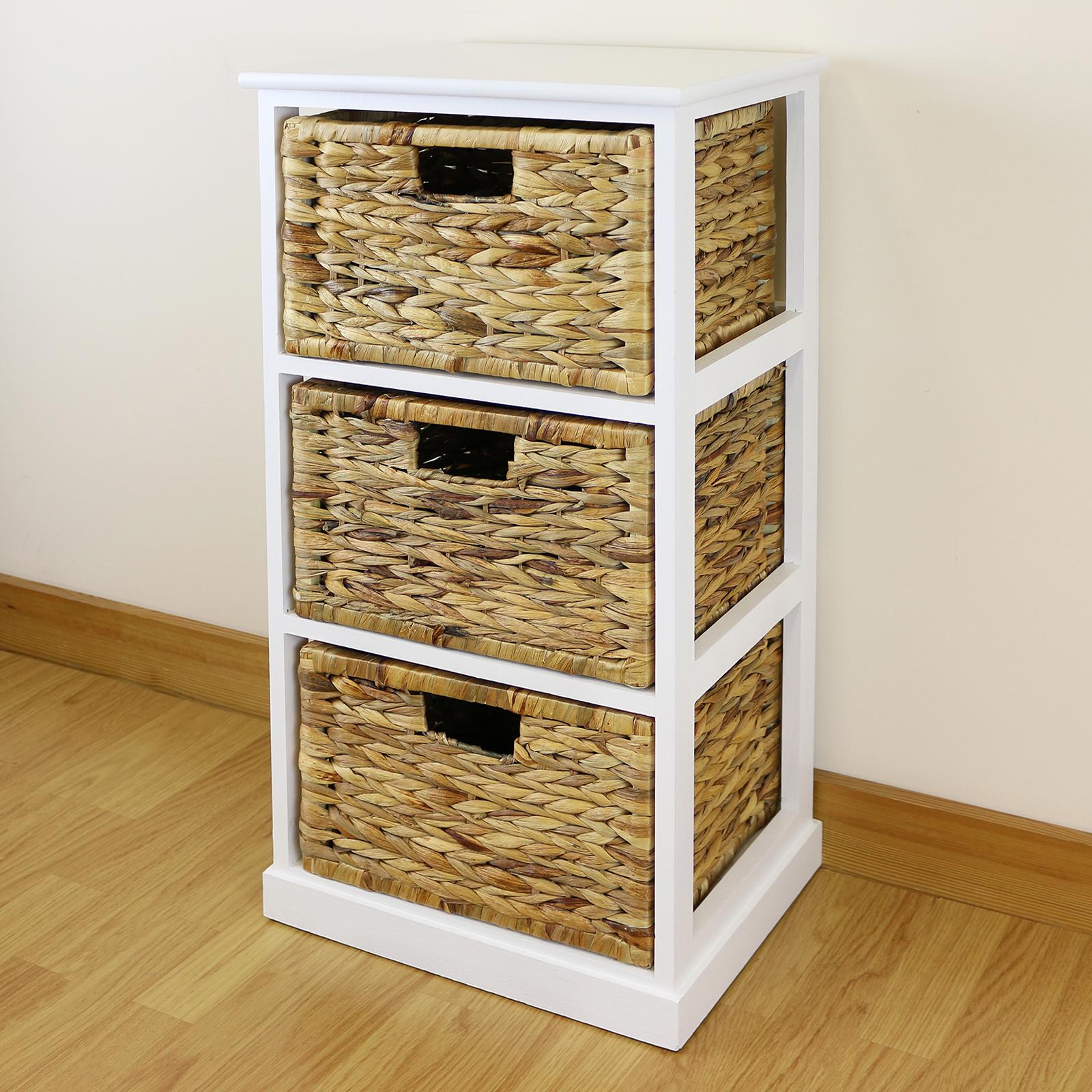 3 Basket Drawer Bathroom Storage Unit Cabinet white 3 drawer basket bedside cabinet/home storage unit/lounge
