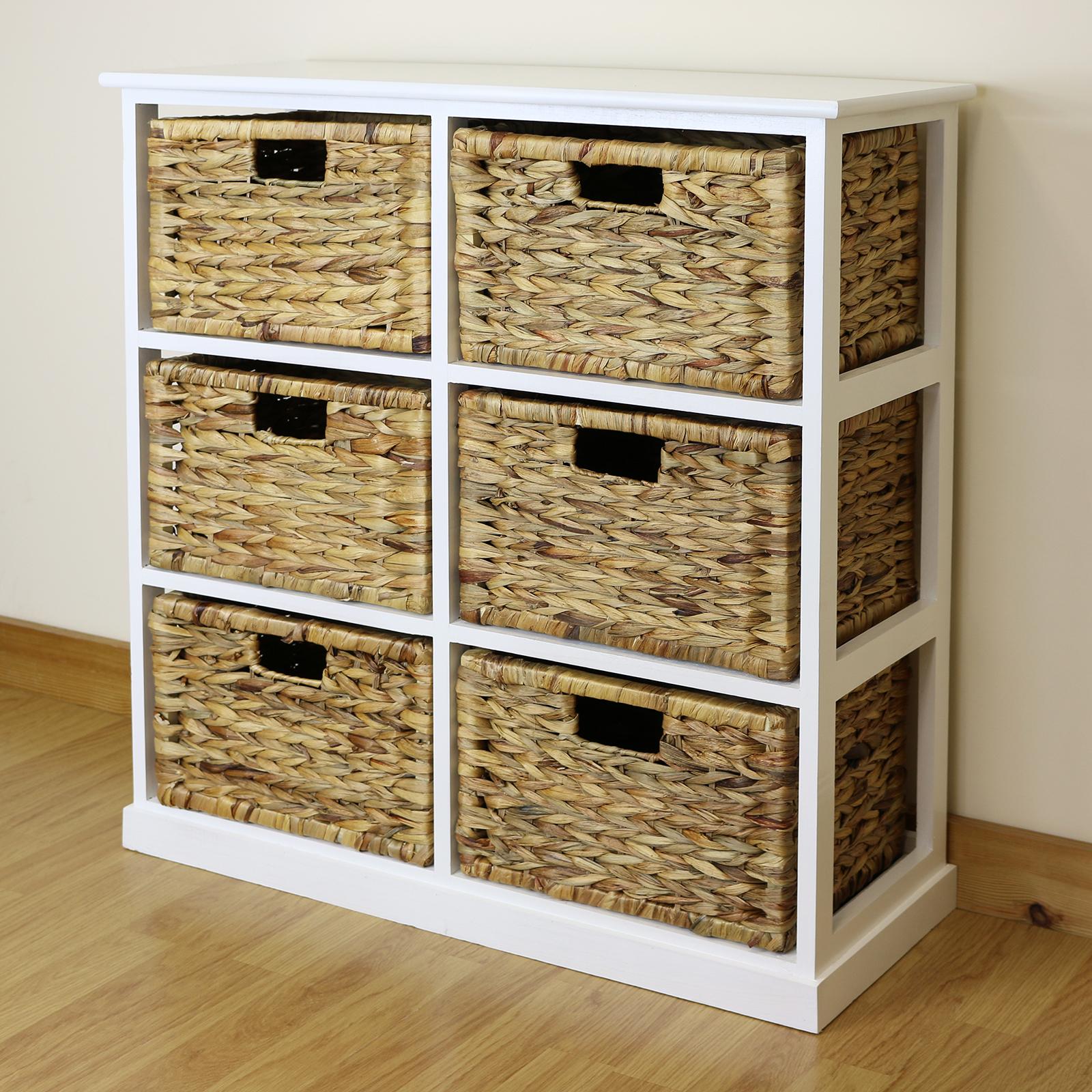 Sentinel White 6 Drawer Basket Storage Side Unit Lounge/Bathroom  Nursery/Bedroom Chest