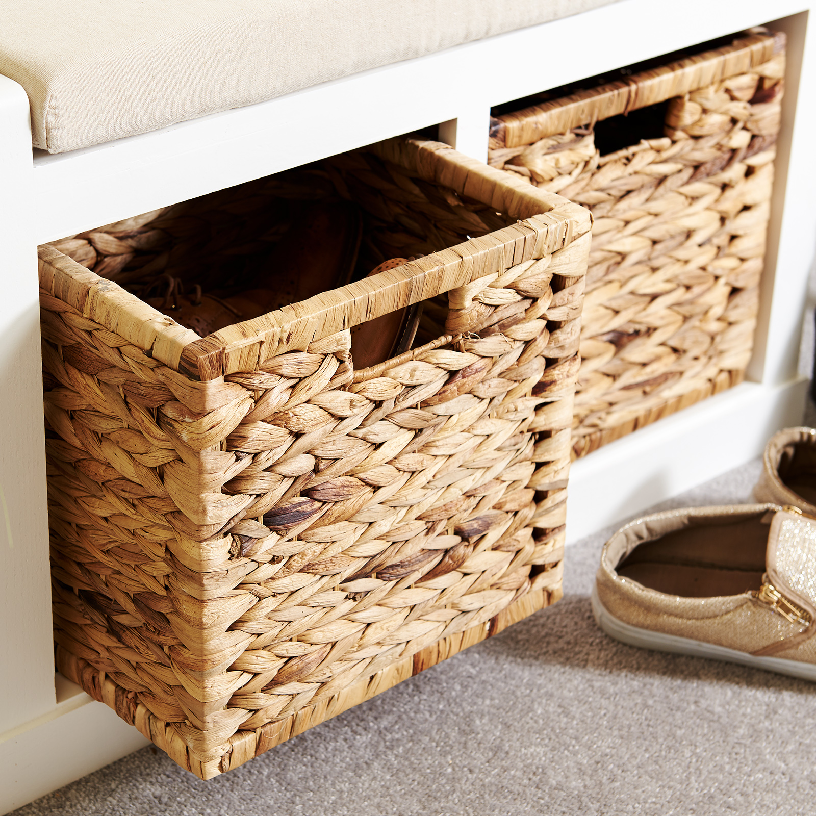 Strange Details About Hartleys 2 Drawer Hallway Storage Bench With Foam Padded Wicker Seat Cushion Uwap Interior Chair Design Uwaporg