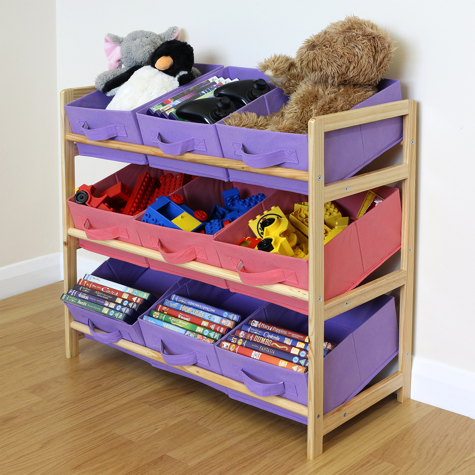 Hartleys 3 Tier Storage Shelf Unit Kids Childrens Bedroom: Purple & Pink 3 Tier Wood Toy Unit 9 Canvas Boxes/Drawers