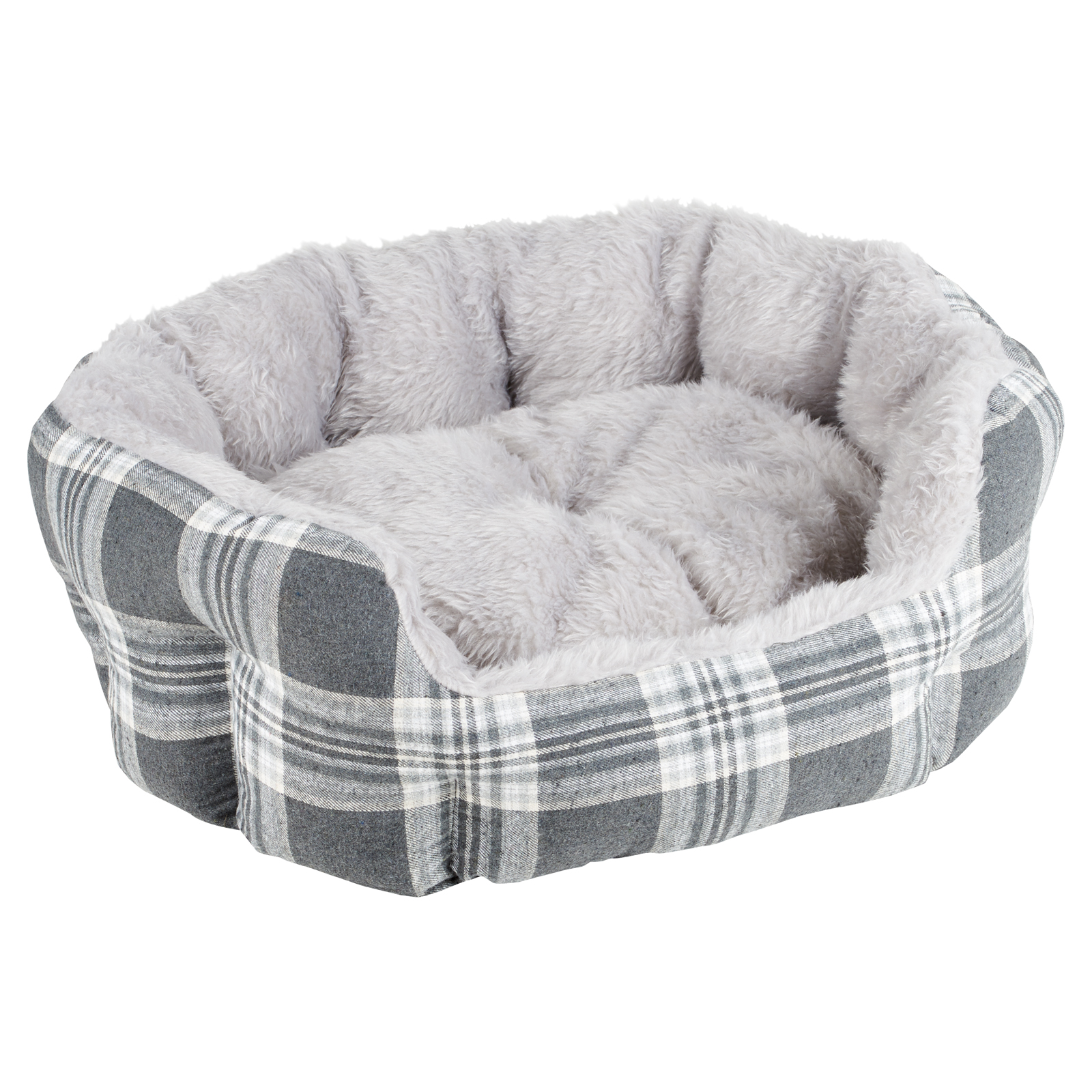 ME & MY GREY CHECK EXTRA THICK/SOFT PET BED DOG/PUPPY