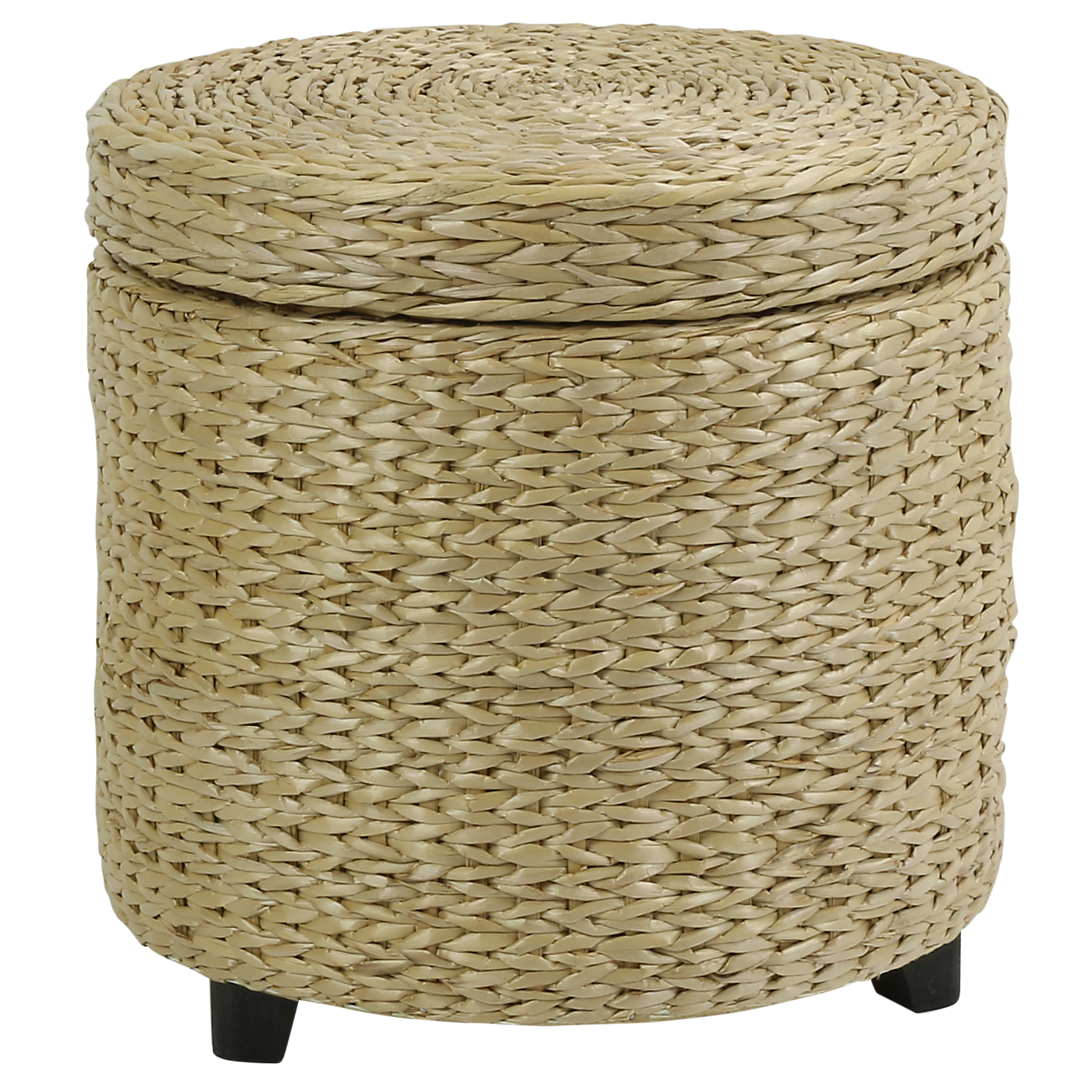 Sentinel ROUND STORAGE OTTOMAN STOOL/SIDE TABLE SEAT WOVEN WICKER RATTAN  STYLE FURNITURE