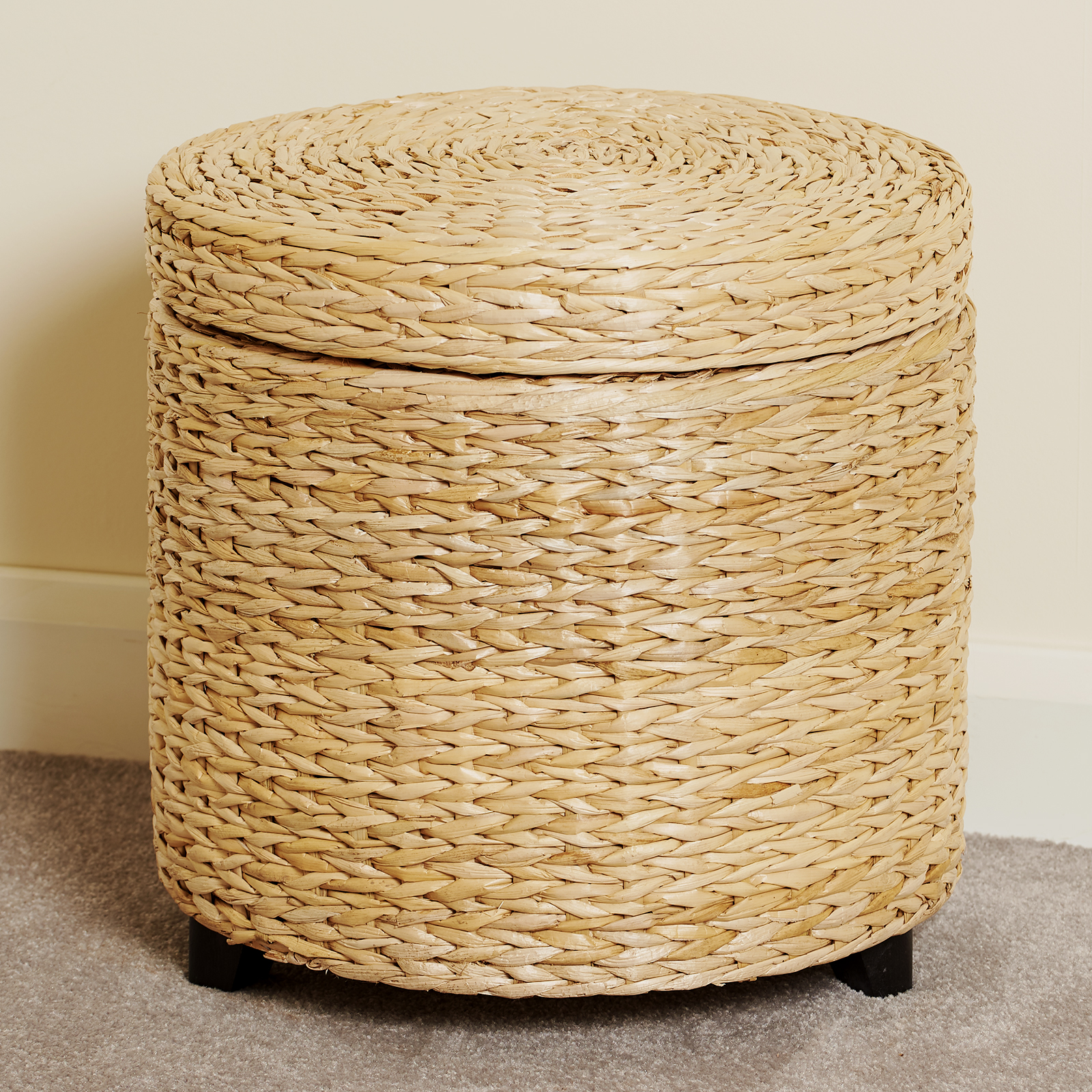 Details About Round Storage Ottoman Stool Side Table Seat Woven Wicker Rattan Style Furniture