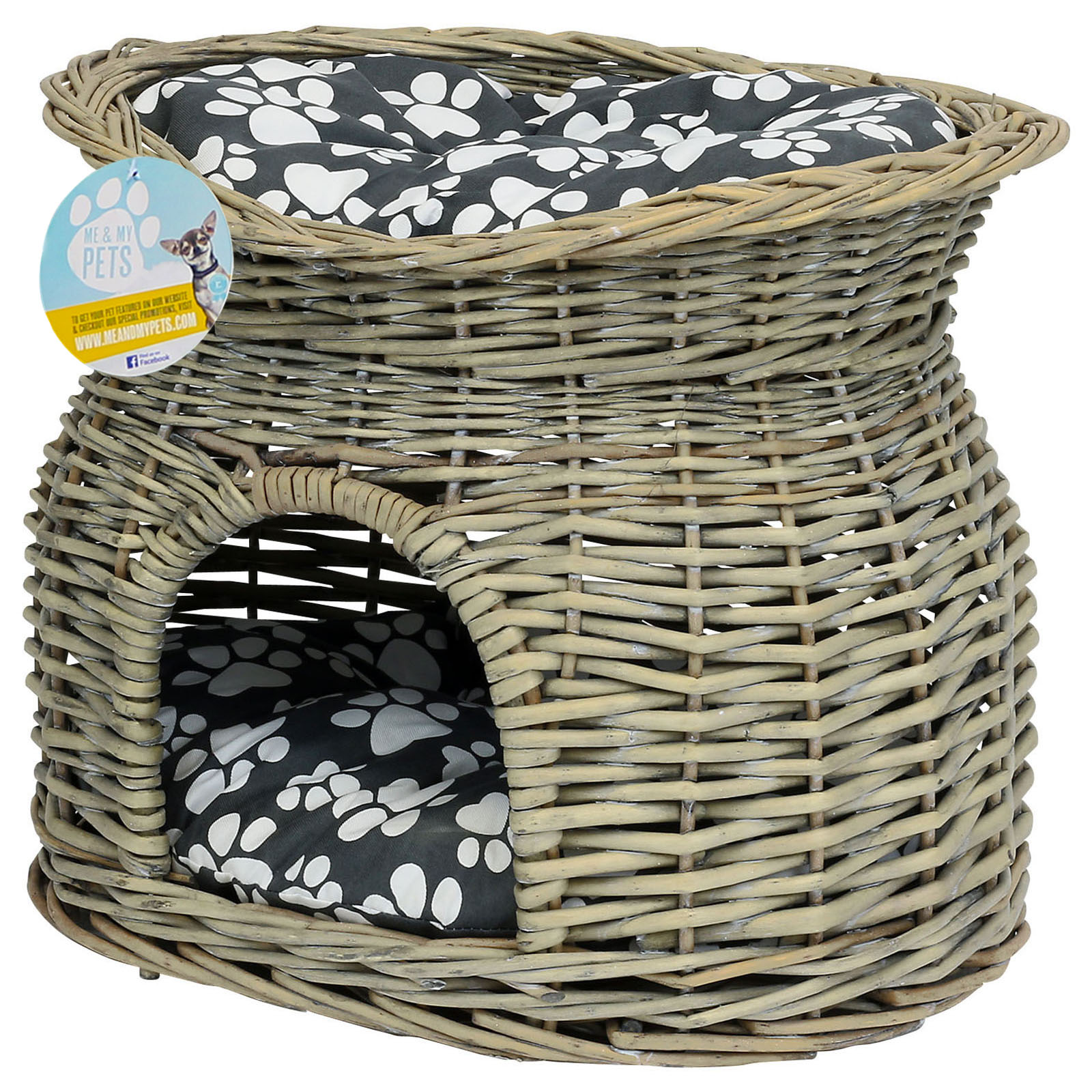 Me Amp My 2 Tier Wicker Pet Bed Basket Igloo House Raised Cushion Small Cat Kitten