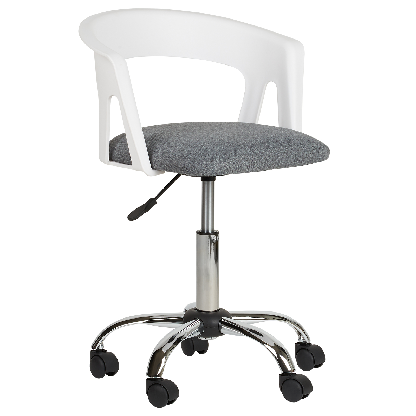 Brilliant Details About Hartleys White Grey Fabric Adjustable Swivel Computer Pc Office Desk Chair Ibusinesslaw Wood Chair Design Ideas Ibusinesslaworg