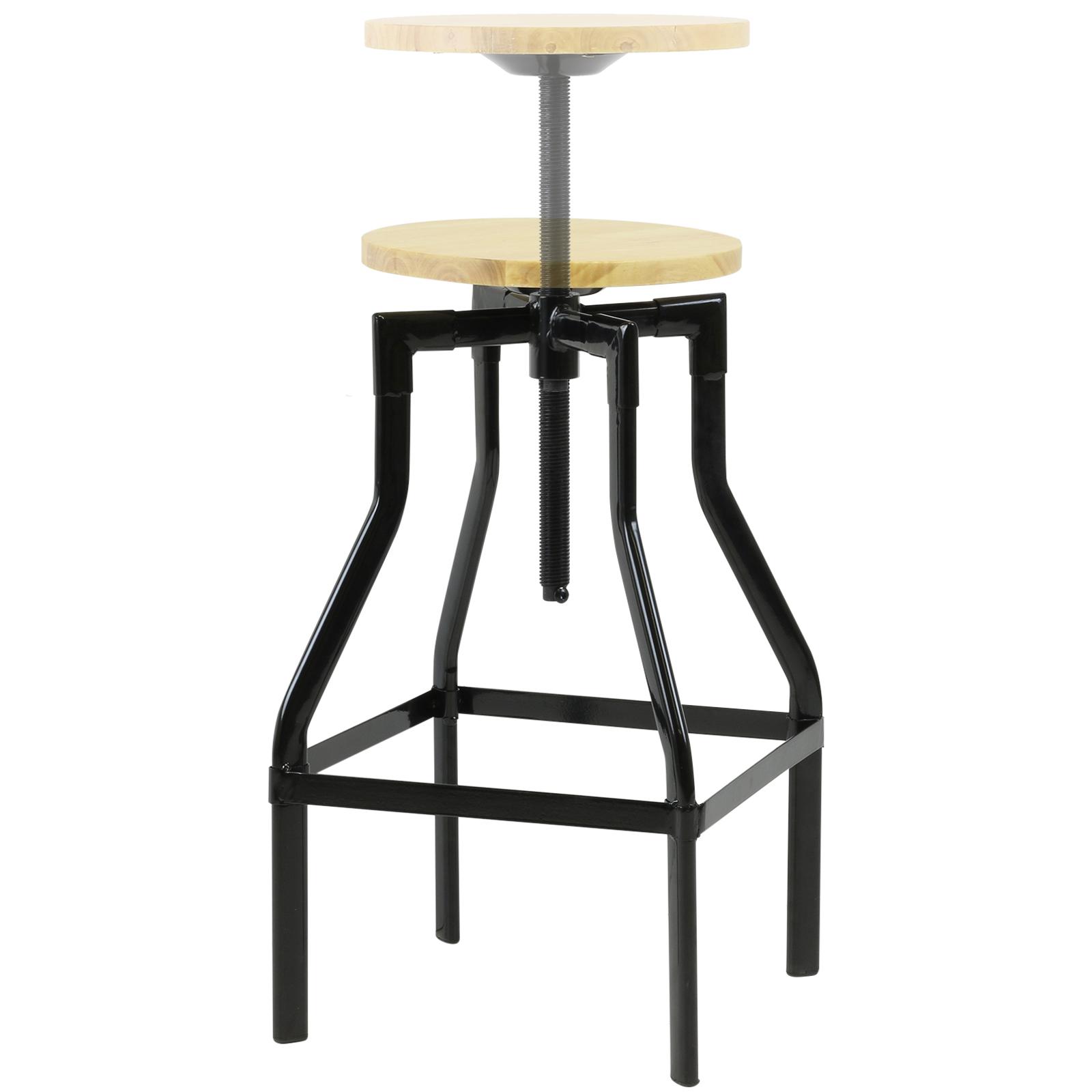 Hartleys tall retro swivel screw bar table stool big height adjustable wood seat ebay - Screw top bar stools ...
