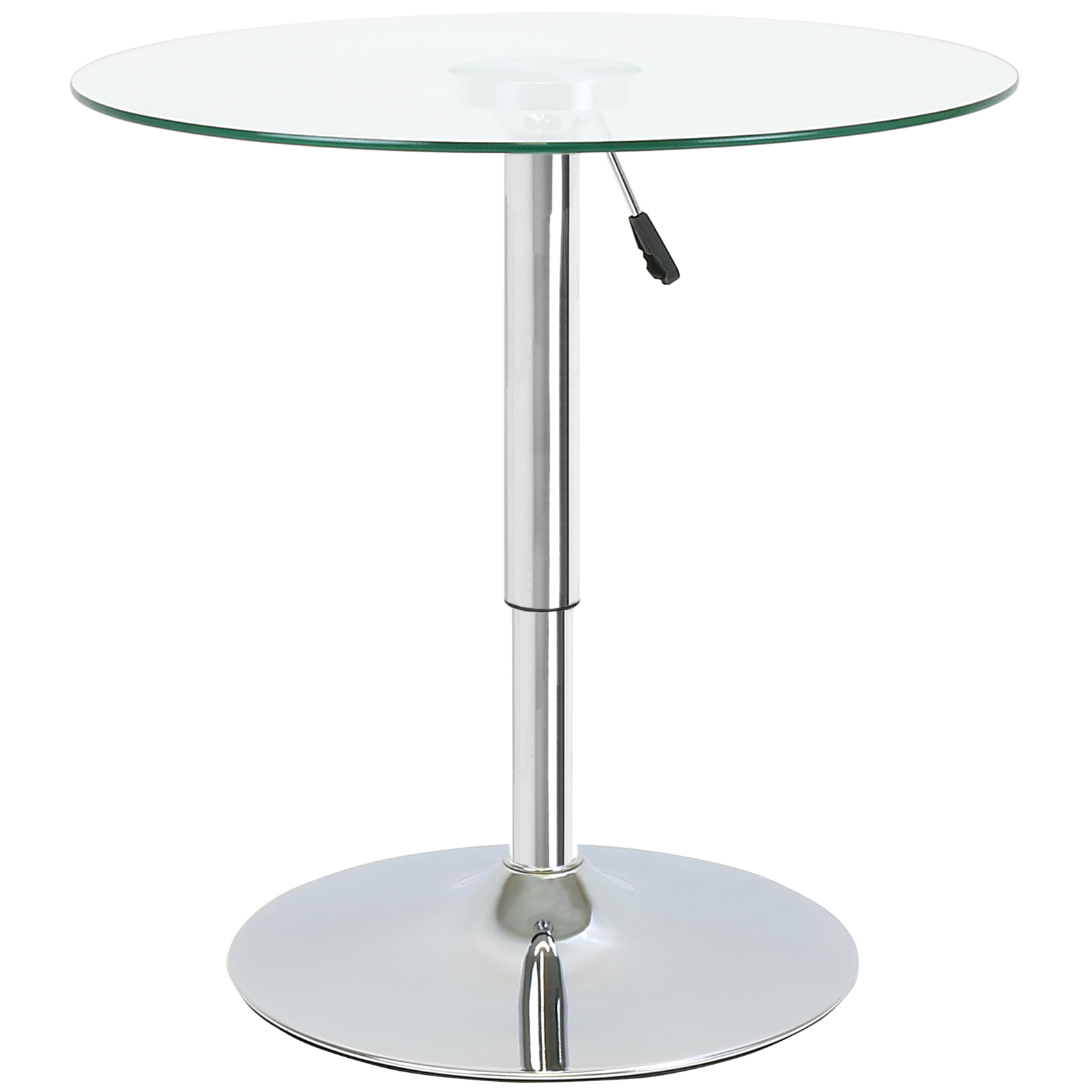Round adjustable clear glass bistro dining table cafe for Tall glass dining table