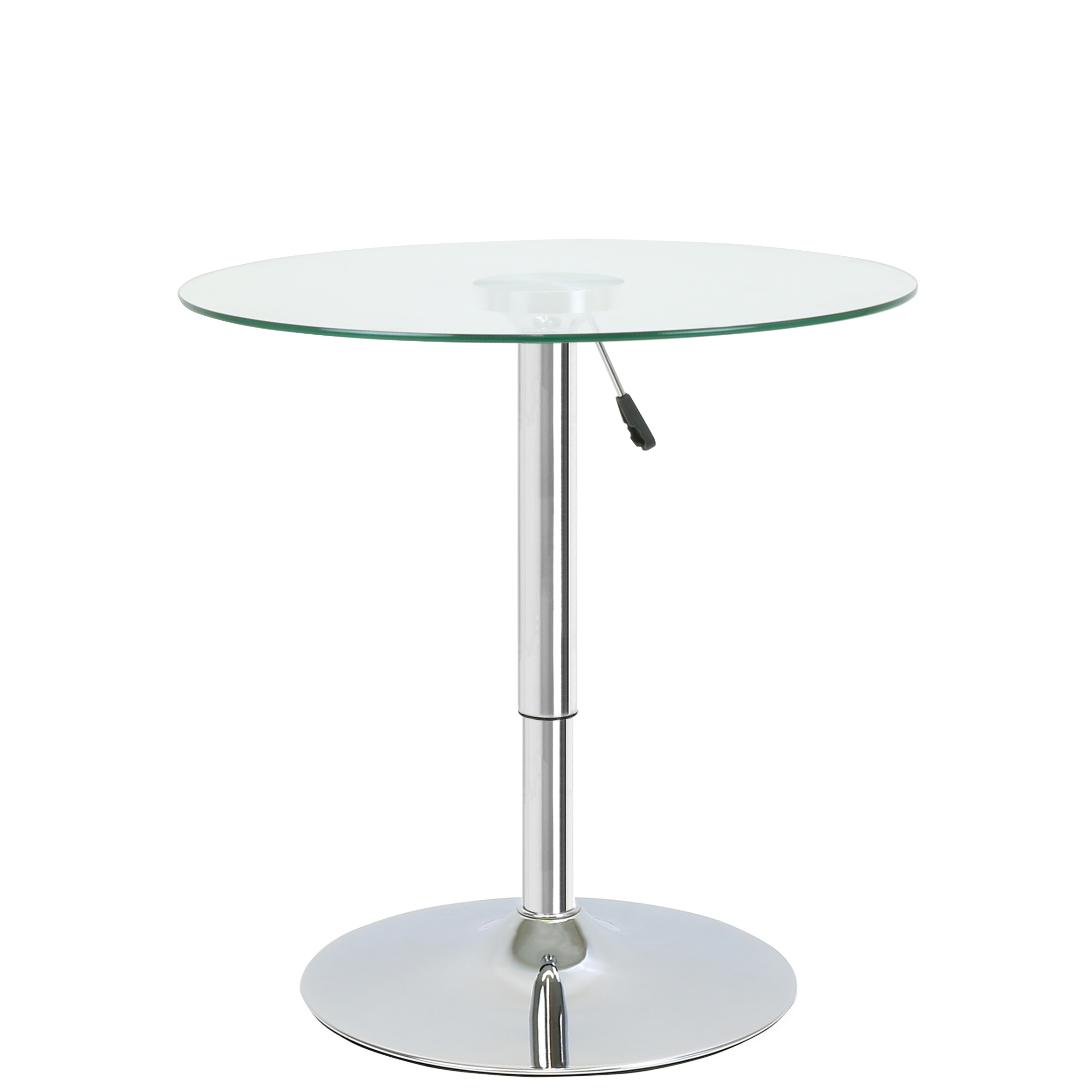 Round Adjustable Clear Glass Bistro Dining Table Cafe