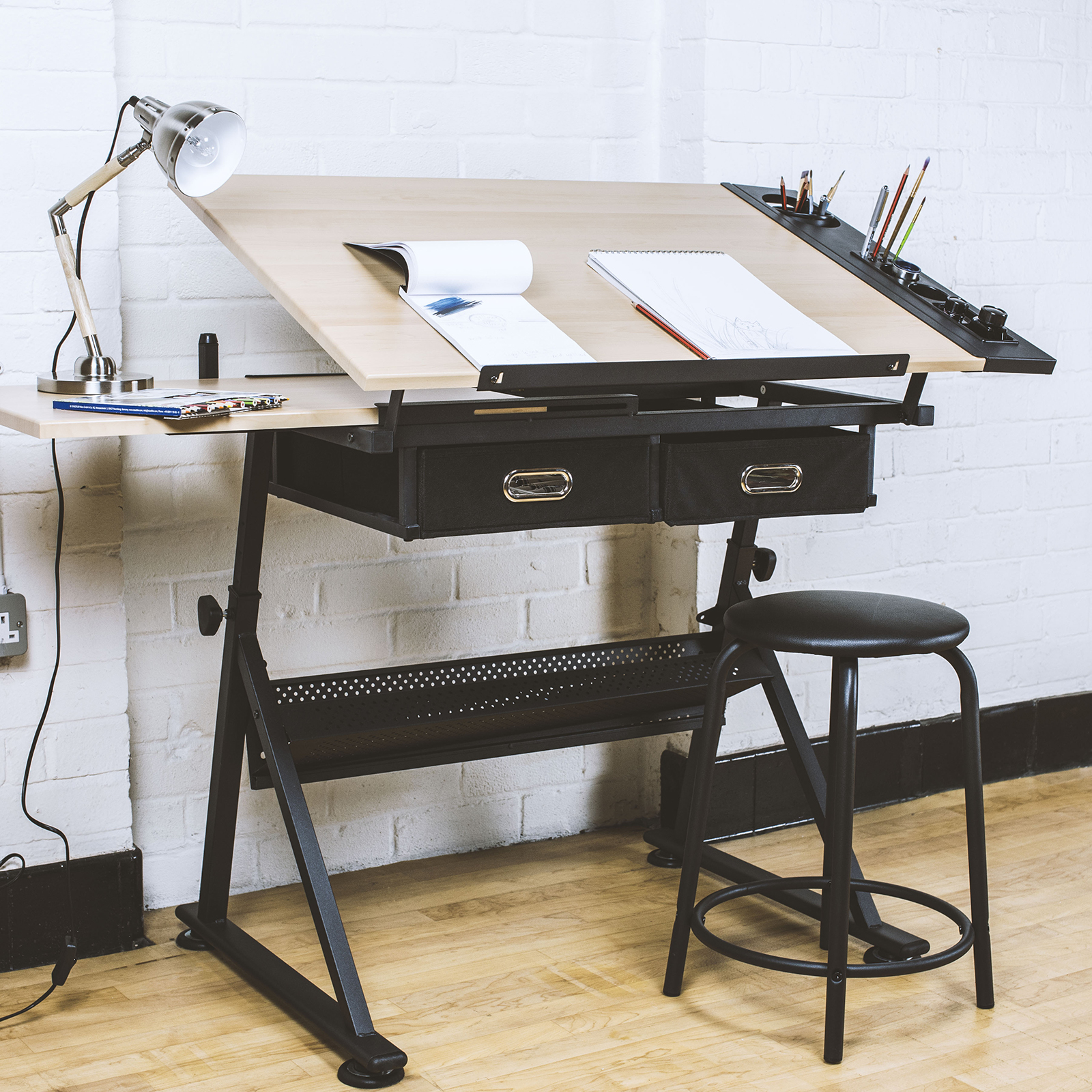 Hartleys Drawing Board Craft Table With Stool
