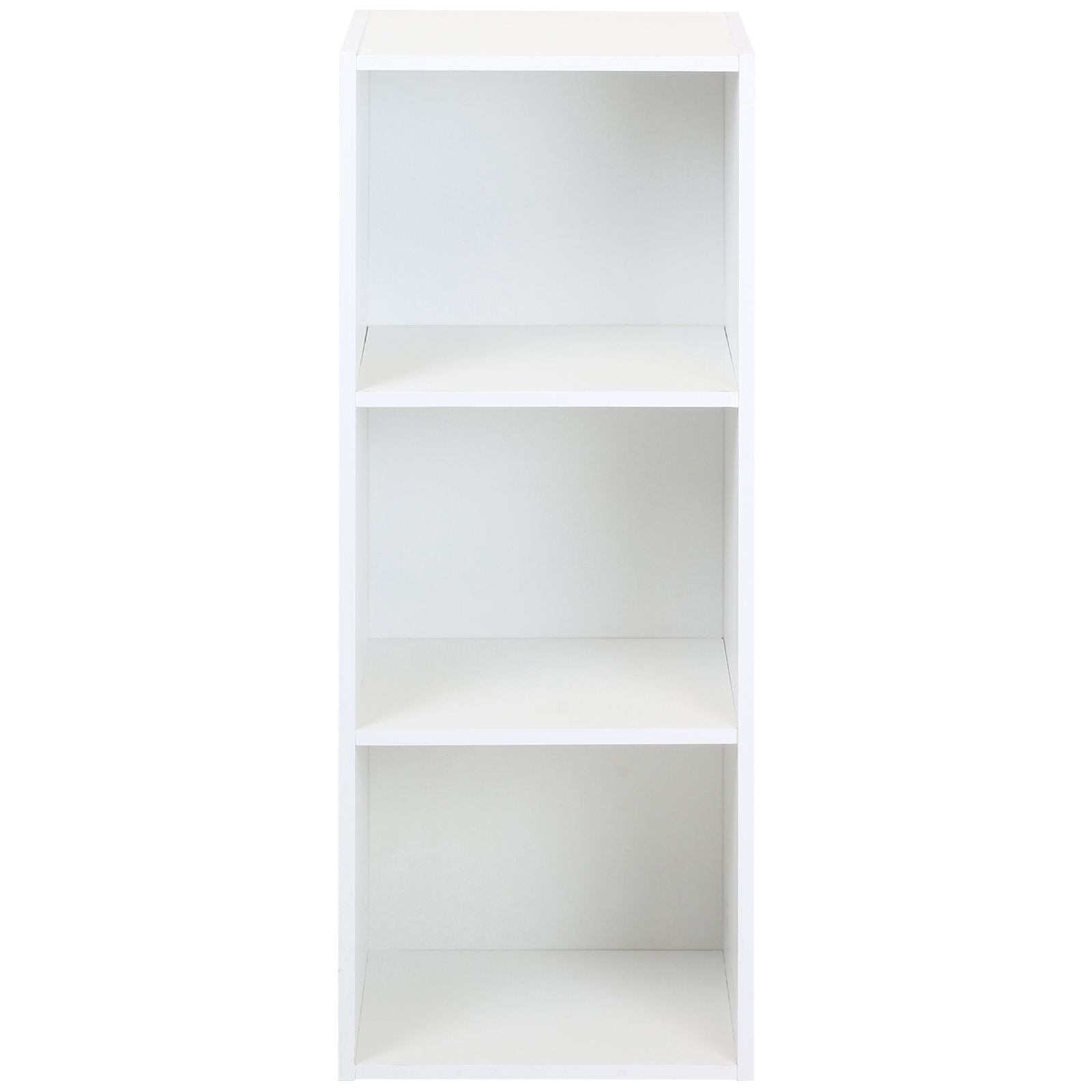 Sentinel Hartleys 3 Tier White Bookcase Wooden Display Shelving Unit Fabric Storage Box