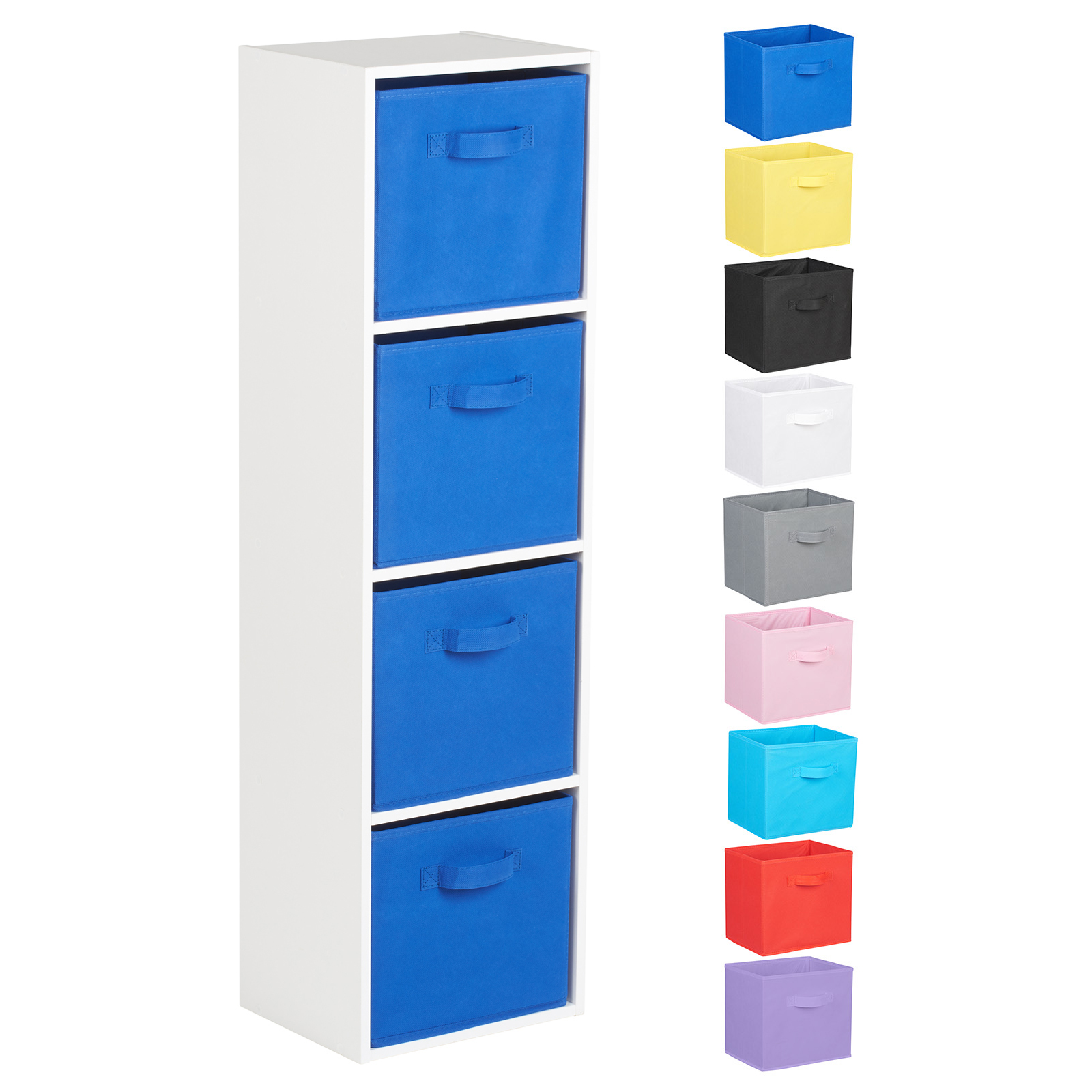 Hartleys-4-Tier-White-Bookcase-Wooden-Display-Shelving-Unit-amp-Fabric-Storage-Box thumbnail 14