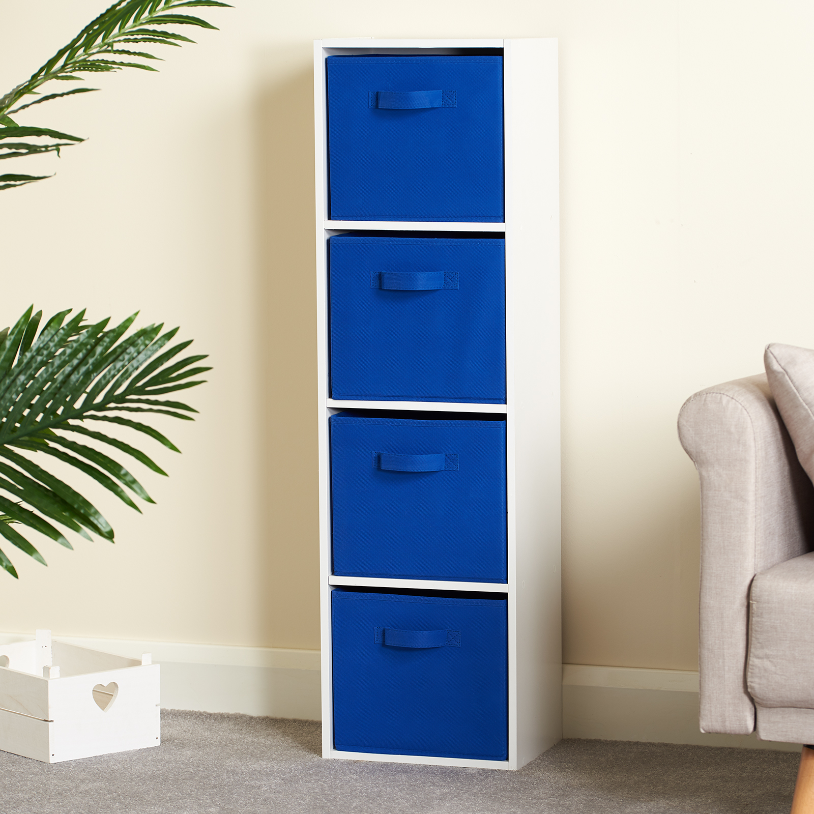 Hartleys-4-Tier-White-Bookcase-Wooden-Display-Shelving-Unit-amp-Fabric-Storage-Box thumbnail 11