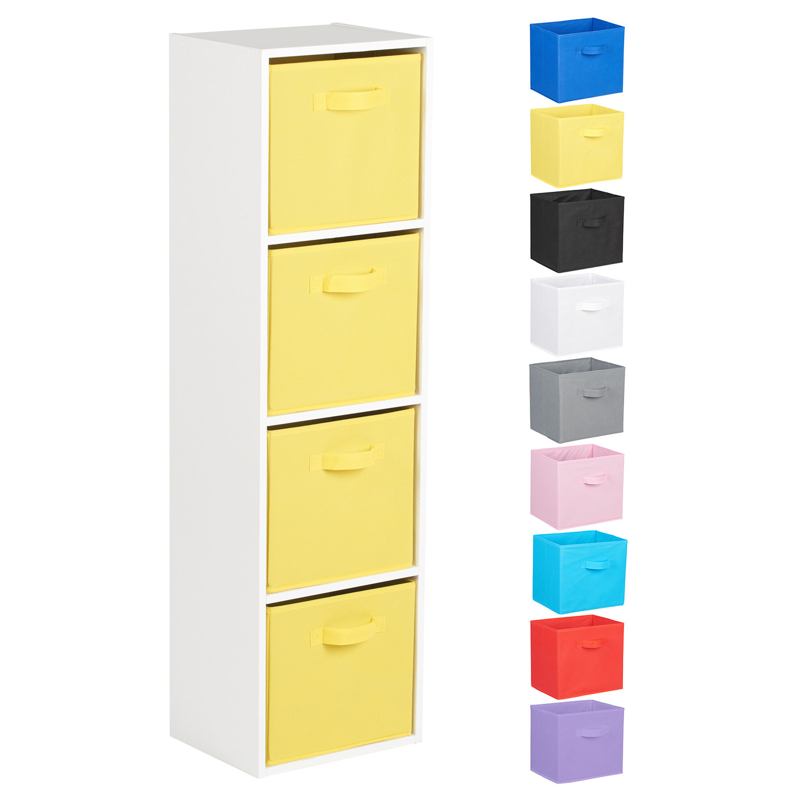 Hartleys-4-Tier-White-Bookcase-Wooden-Display-Shelving-Unit-amp-Fabric-Storage-Box thumbnail 49