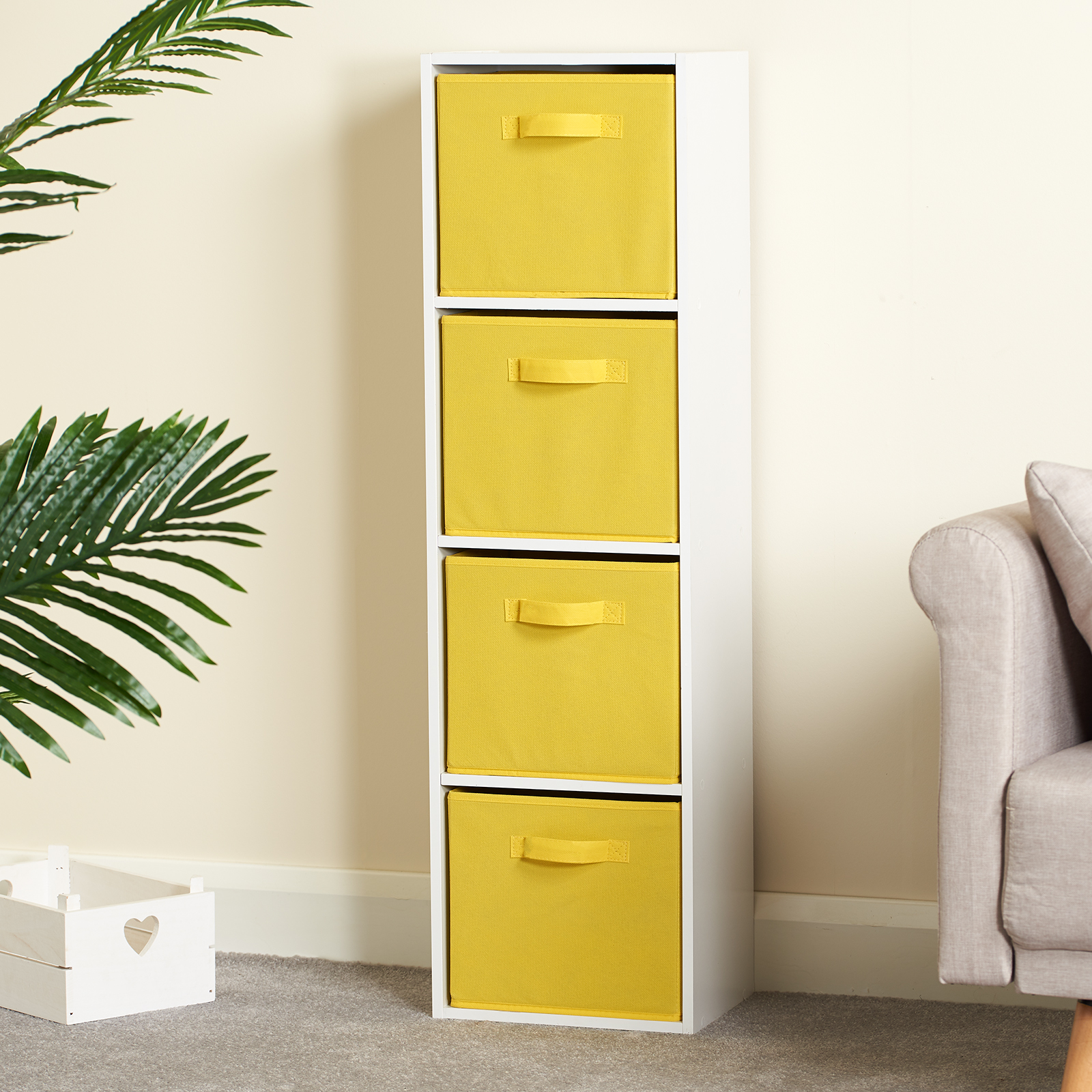 Hartleys-4-Tier-White-Bookcase-Wooden-Display-Shelving-Unit-amp-Fabric-Storage-Box thumbnail 46