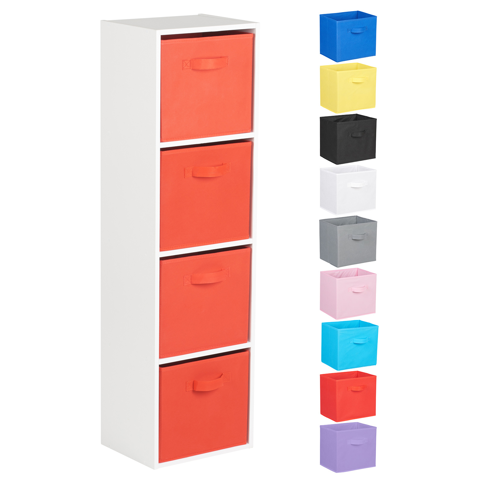 Hartleys-4-Tier-White-Bookcase-Wooden-Display-Shelving-Unit-amp-Fabric-Storage-Box thumbnail 39
