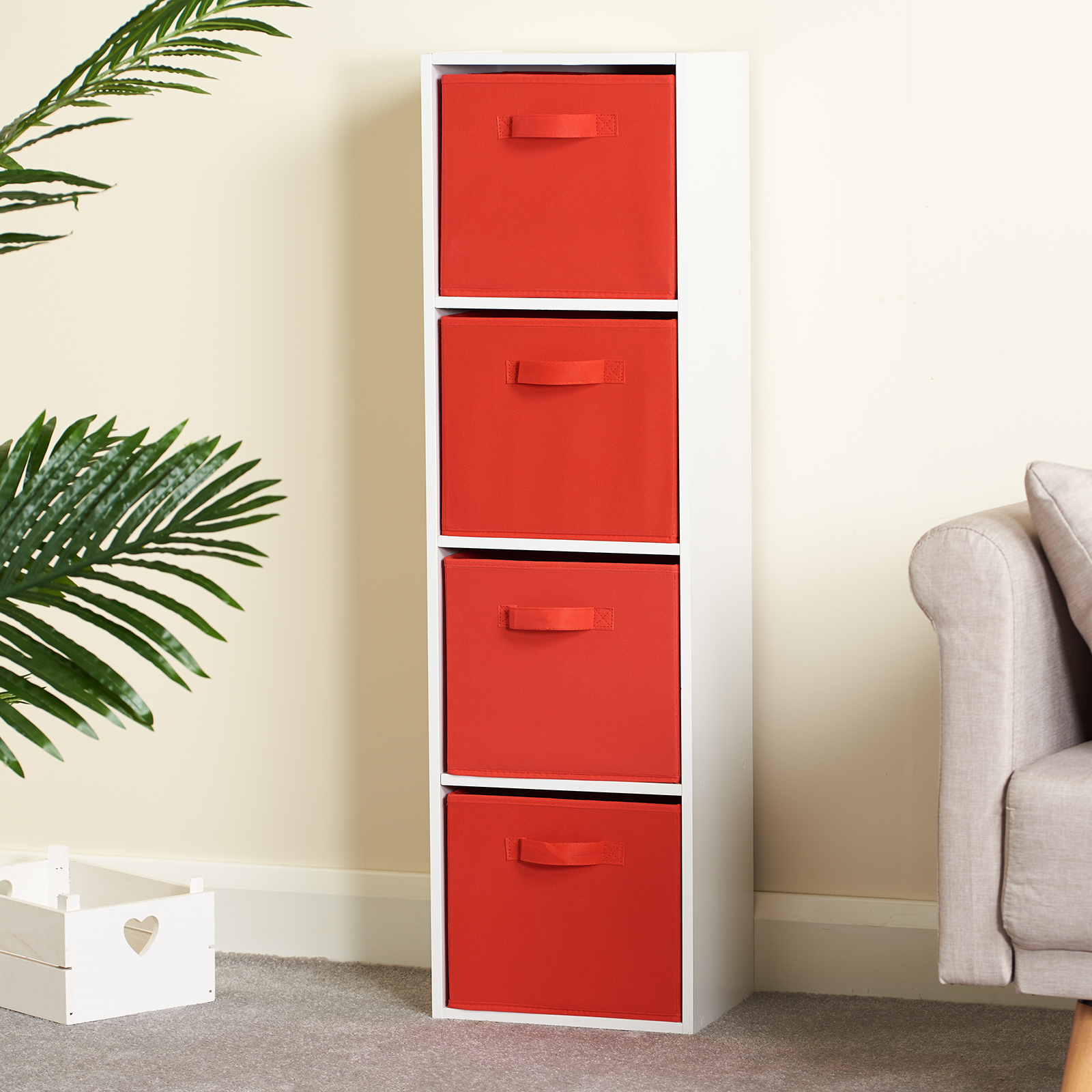 Hartleys-4-Tier-White-Bookcase-Wooden-Display-Shelving-Unit-amp-Fabric-Storage-Box thumbnail 36