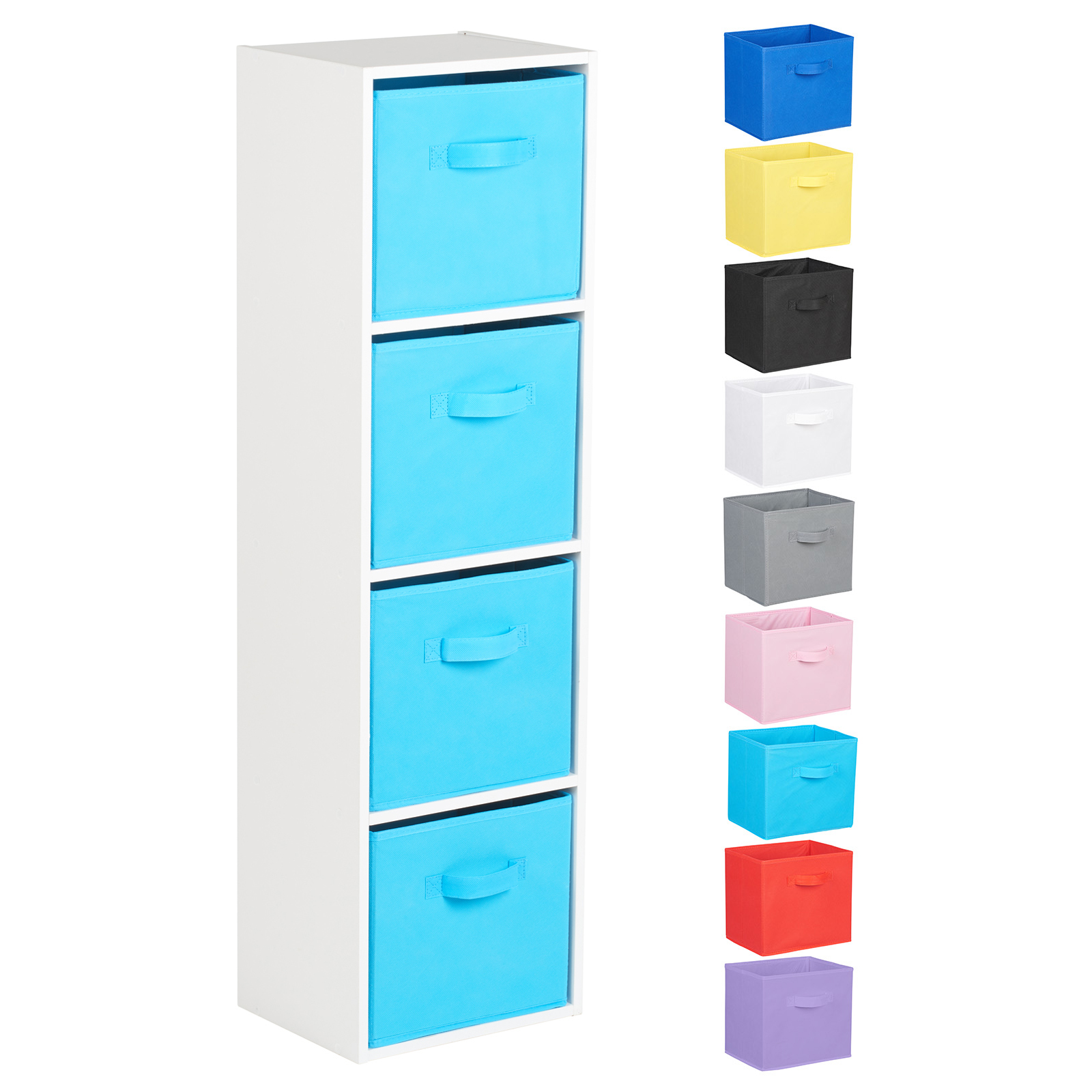 Hartleys-4-Tier-White-Bookcase-Wooden-Display-Shelving-Unit-amp-Fabric-Storage-Box thumbnail 24
