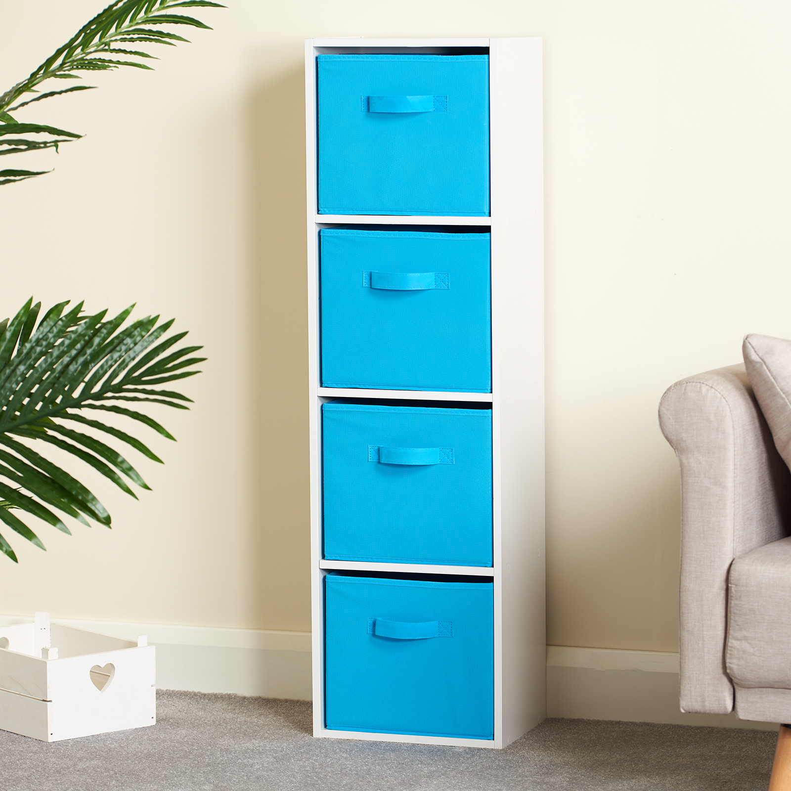 Hartleys-4-Tier-White-Bookcase-Wooden-Display-Shelving-Unit-amp-Fabric-Storage-Box thumbnail 21