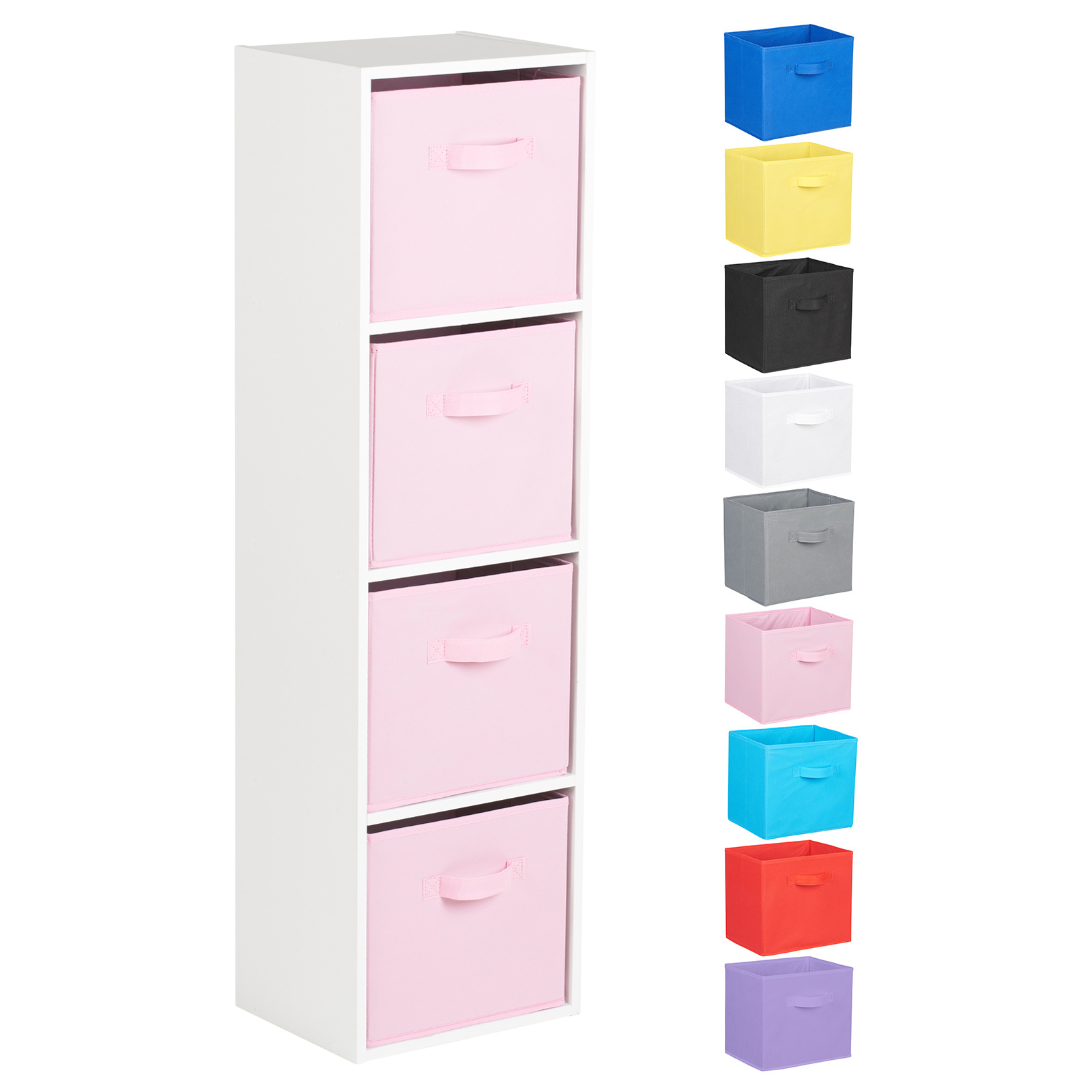 Hartleys-4-Tier-White-Bookcase-Wooden-Display-Shelving-Unit-amp-Fabric-Storage-Box thumbnail 34