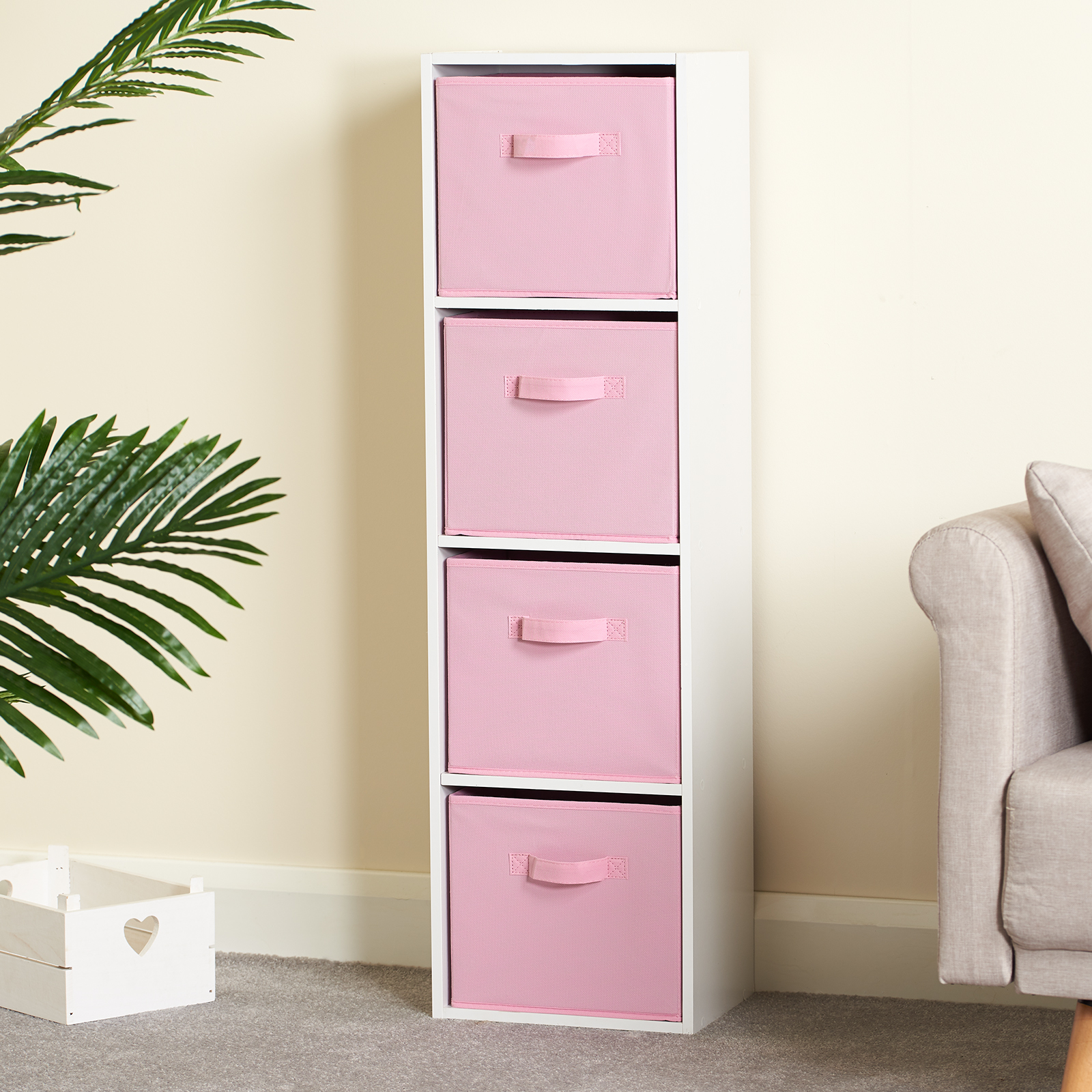 Hartleys-4-Tier-White-Bookcase-Wooden-Display-Shelving-Unit-amp-Fabric-Storage-Box thumbnail 31