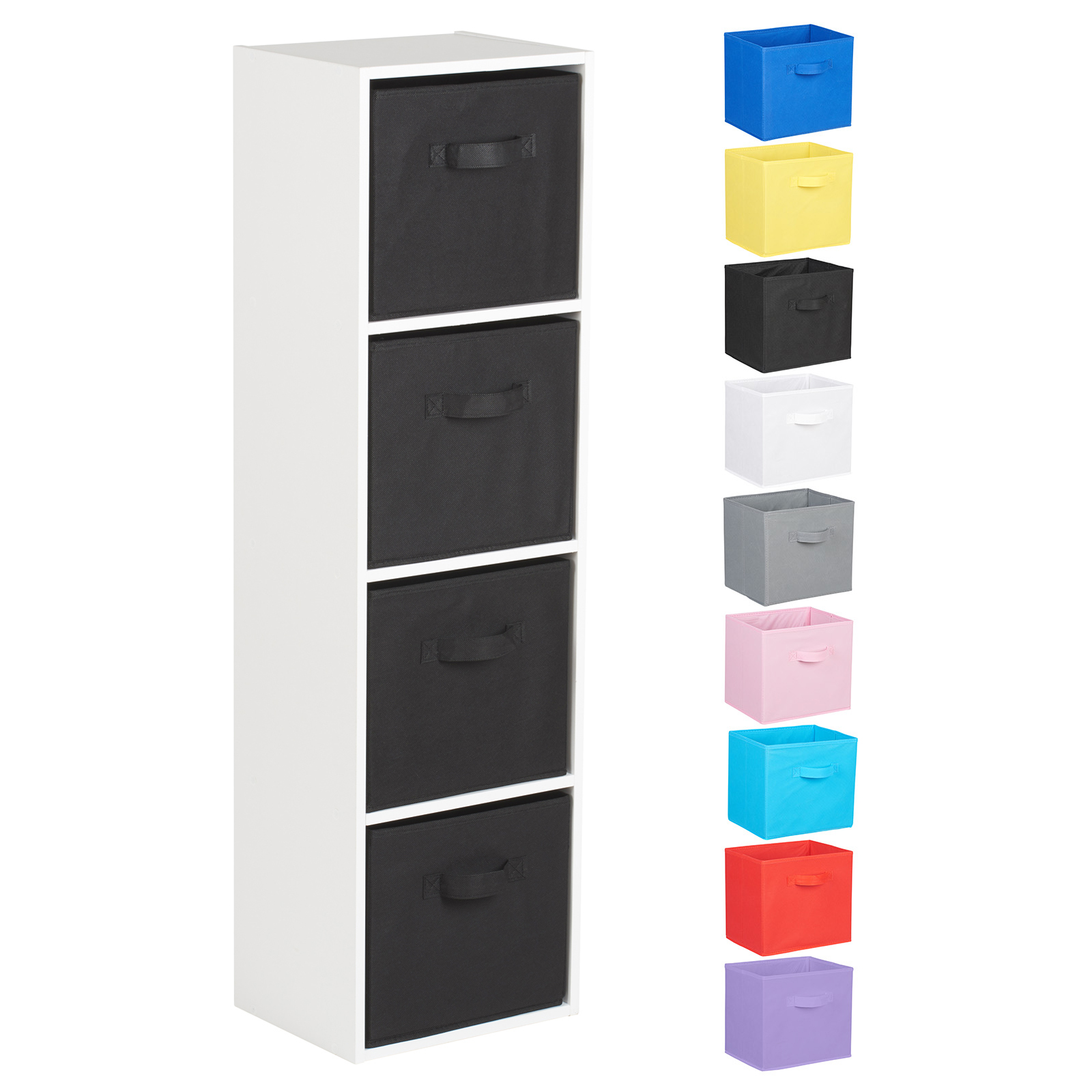 Hartleys-4-Tier-White-Bookcase-Wooden-Display-Shelving-Unit-amp-Fabric-Storage-Box thumbnail 9