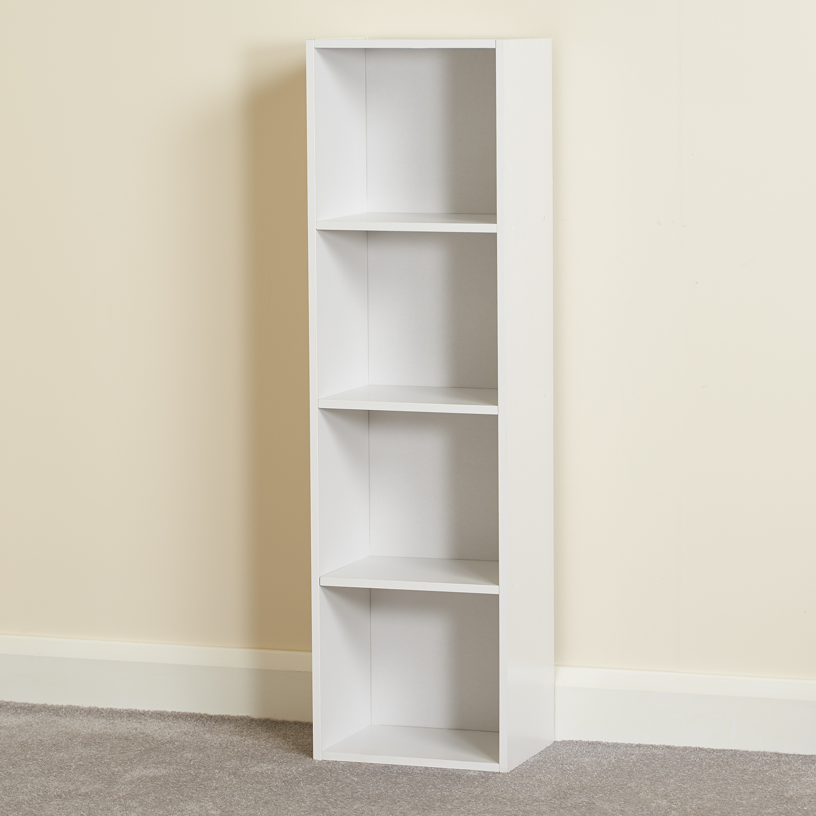Hartleys-4-Tier-White-Bookcase-Wooden-Display-Shelving-Unit-amp-Fabric-Storage-Box thumbnail 7