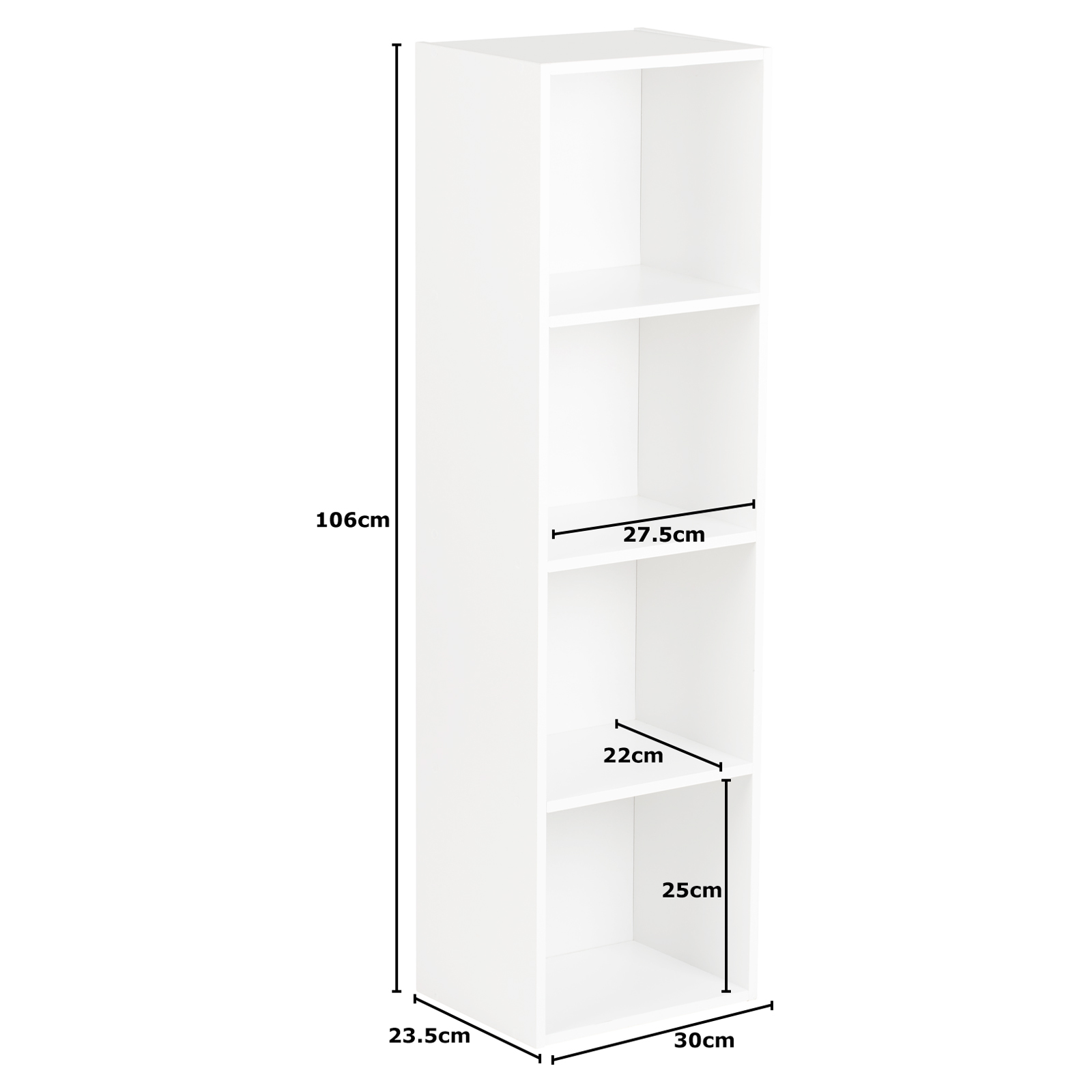 Hartleys-4-Tier-White-Bookcase-Wooden-Display-Shelving-Unit-amp-Fabric-Storage-Box thumbnail 8