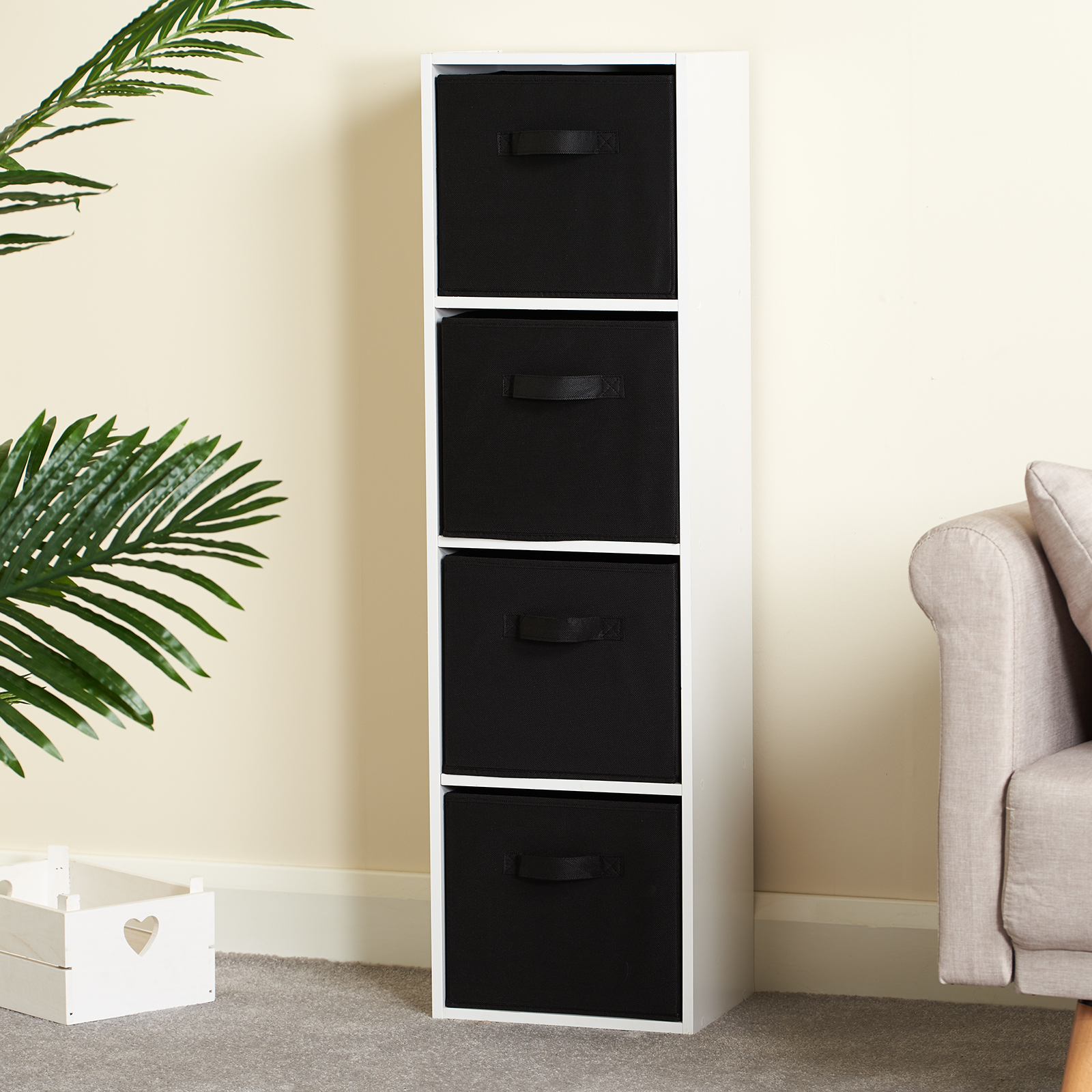 Hartleys-4-Tier-White-Bookcase-Wooden-Display-Shelving-Unit-amp-Fabric-Storage-Box thumbnail 6