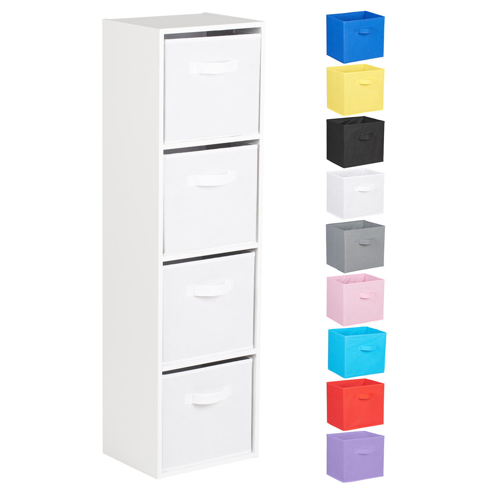Hartleys-4-Tier-White-Bookcase-Wooden-Display-Shelving-Unit-amp-Fabric-Storage-Box thumbnail 44