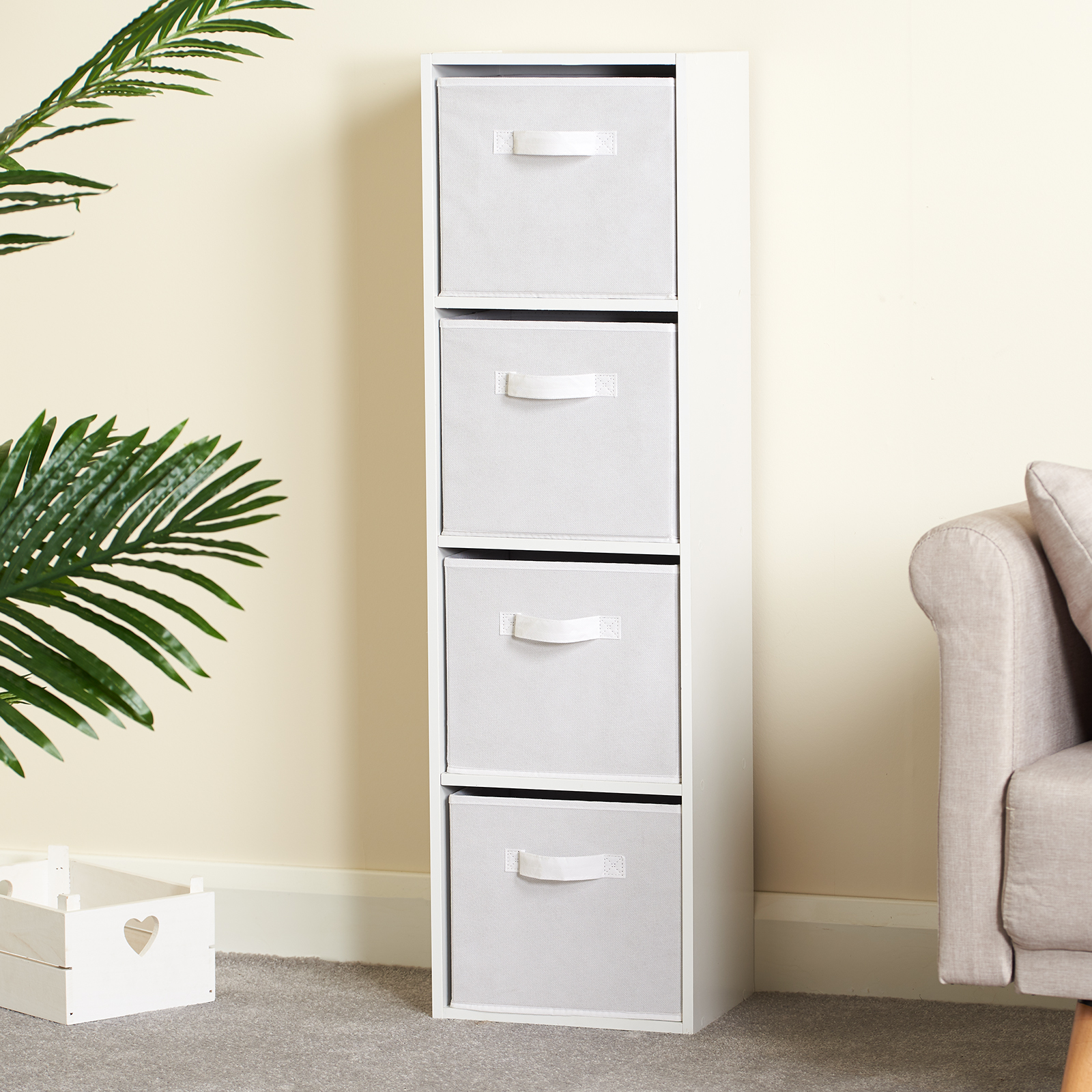 Hartleys-4-Tier-White-Bookcase-Wooden-Display-Shelving-Unit-amp-Fabric-Storage-Box thumbnail 41