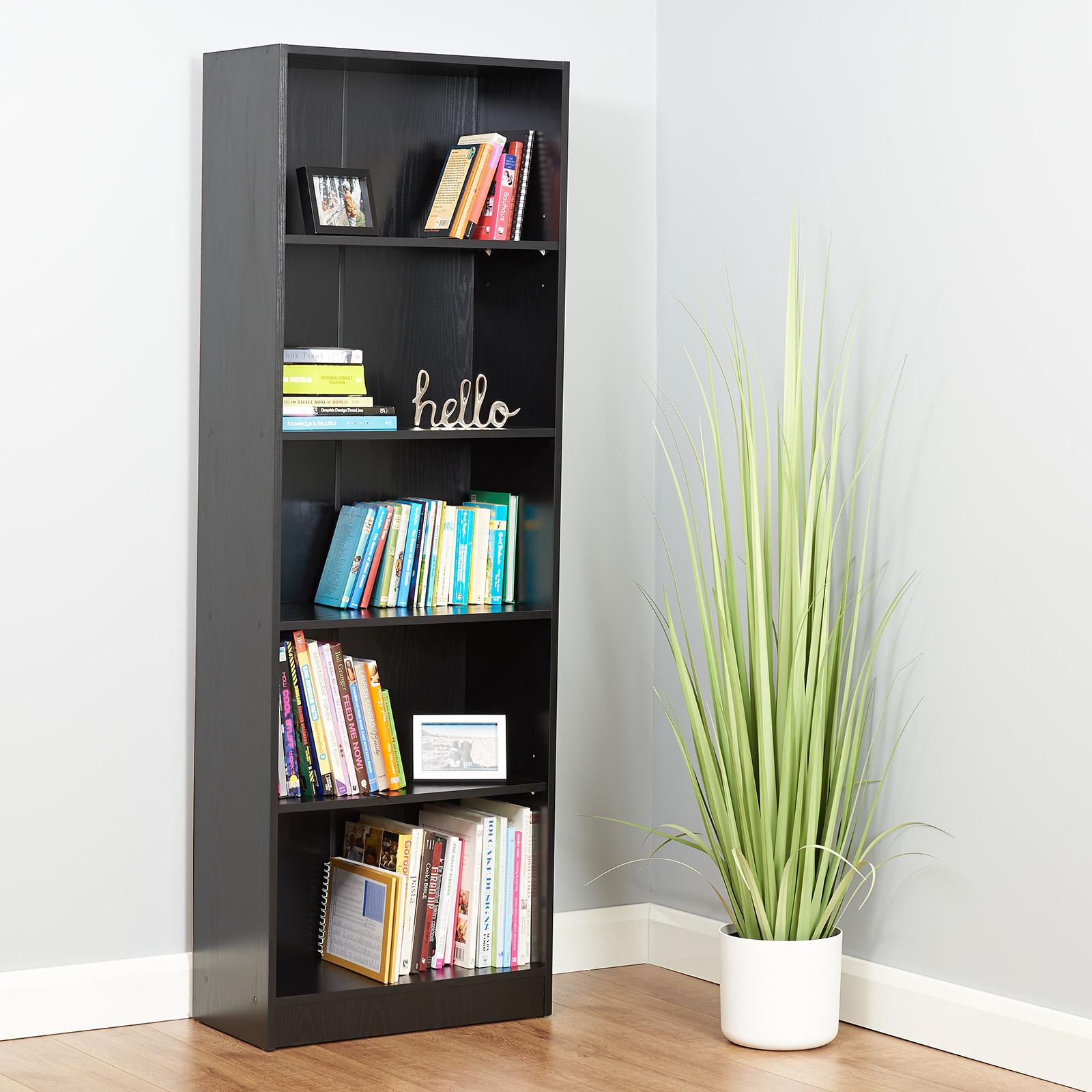 HARTLEYS 5 TIER TALL BLACK WOODEN FREESTANDING BOOKCASE STORAGE UNIT DEEP SHELF