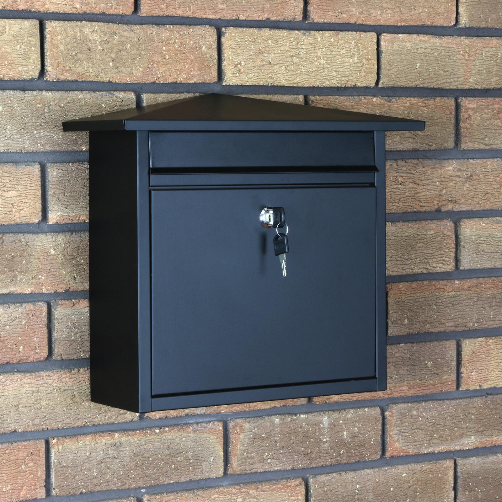 Matt Black Lockable Mailbox Postbox Outdoor Home Wall Mail