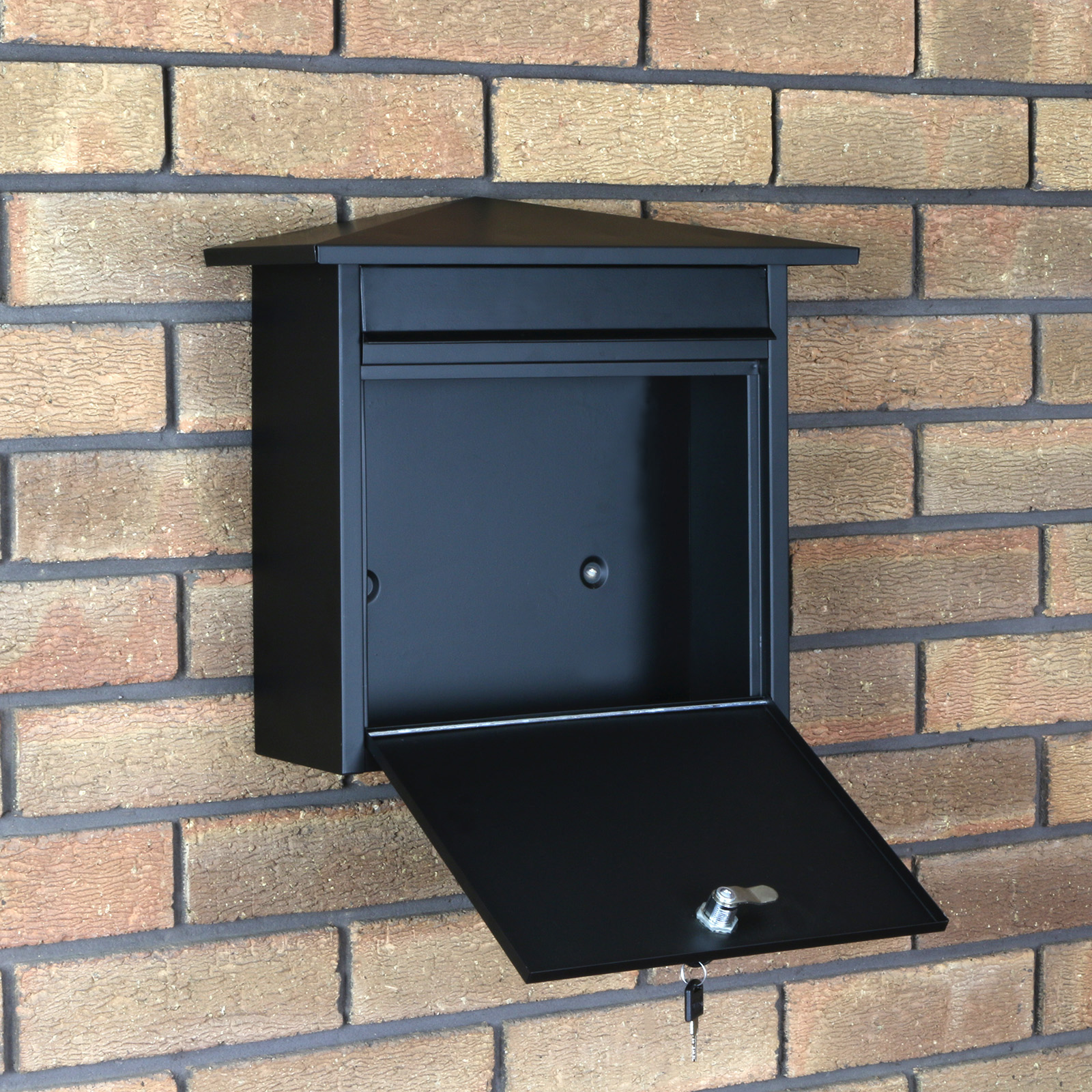 Matt Black Lockable Mailbox/Postbox Outdoor Home Wall Mail
