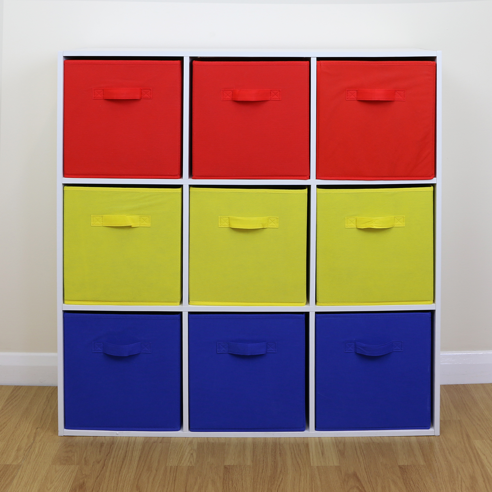 Details About White 3 Piece Storage Drawers Twin Bed Box: 9 Cube Kids Red Yellow & Blue Toy/Games Storage Unit Girls