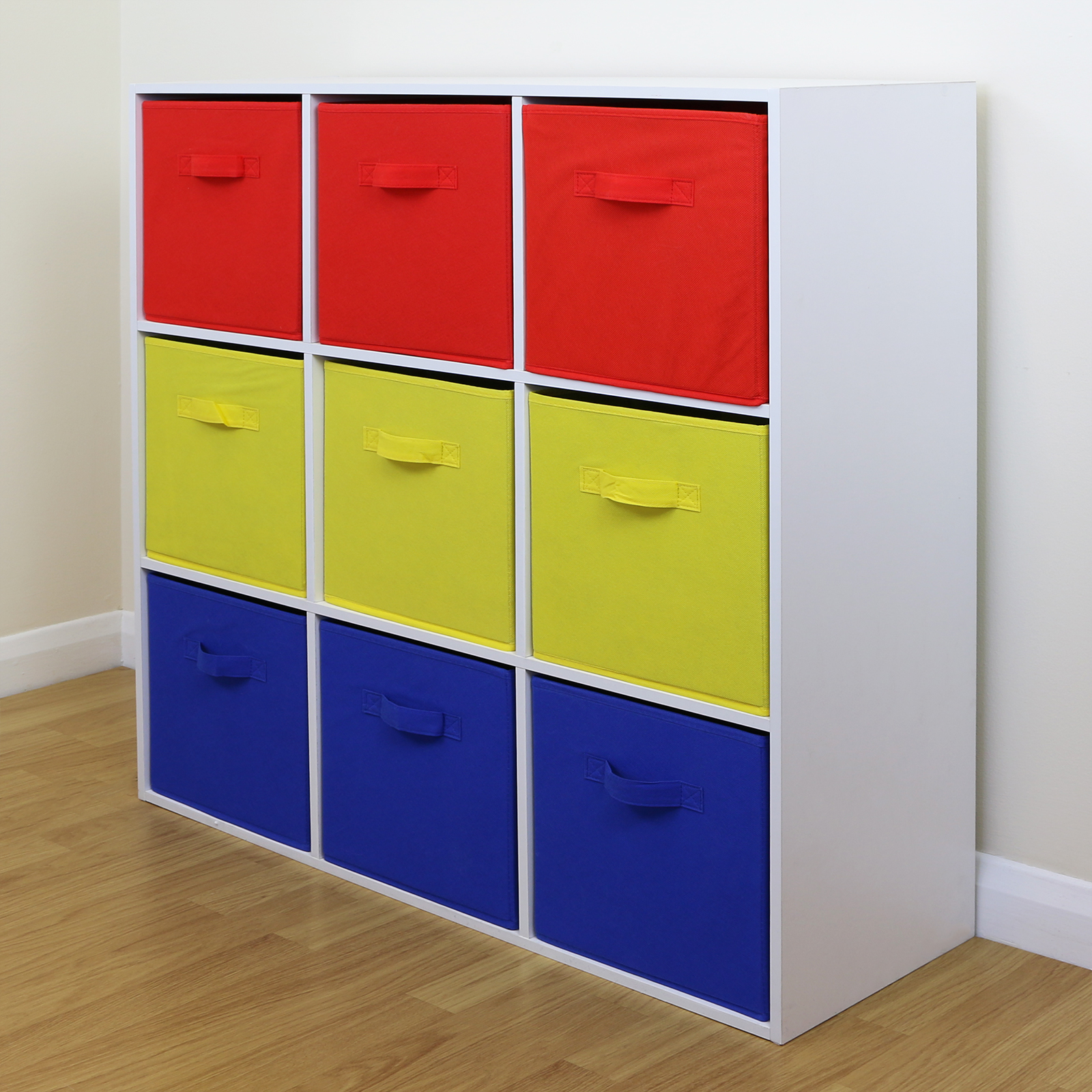 9 Cube Kids Red Yellow Blue Toy Games Storage Unit Girls