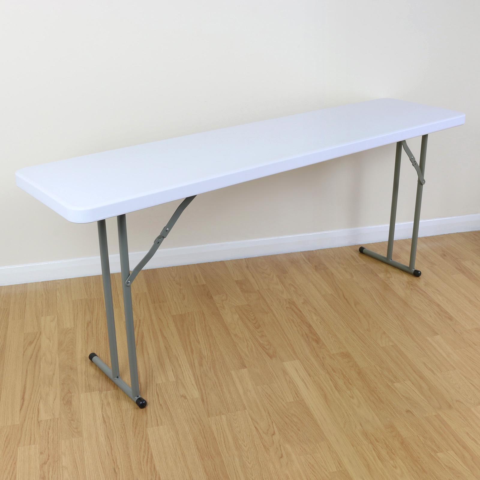 6ft White Narrow Table Folding Legs Outdoor Buffet Garden Party Bbq