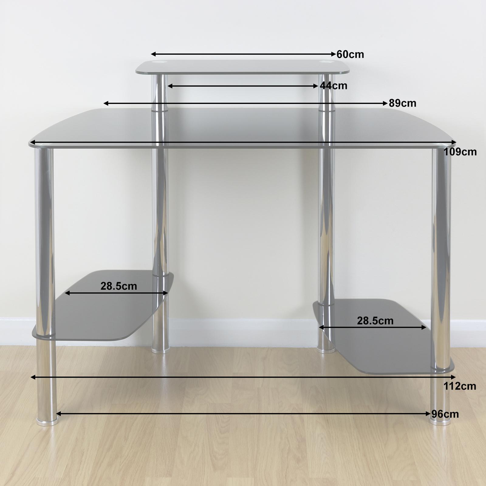 Sentinel Large Black Glass Office Computer Pc Desk Stand Cpu Tower Shelf Monitor Riser